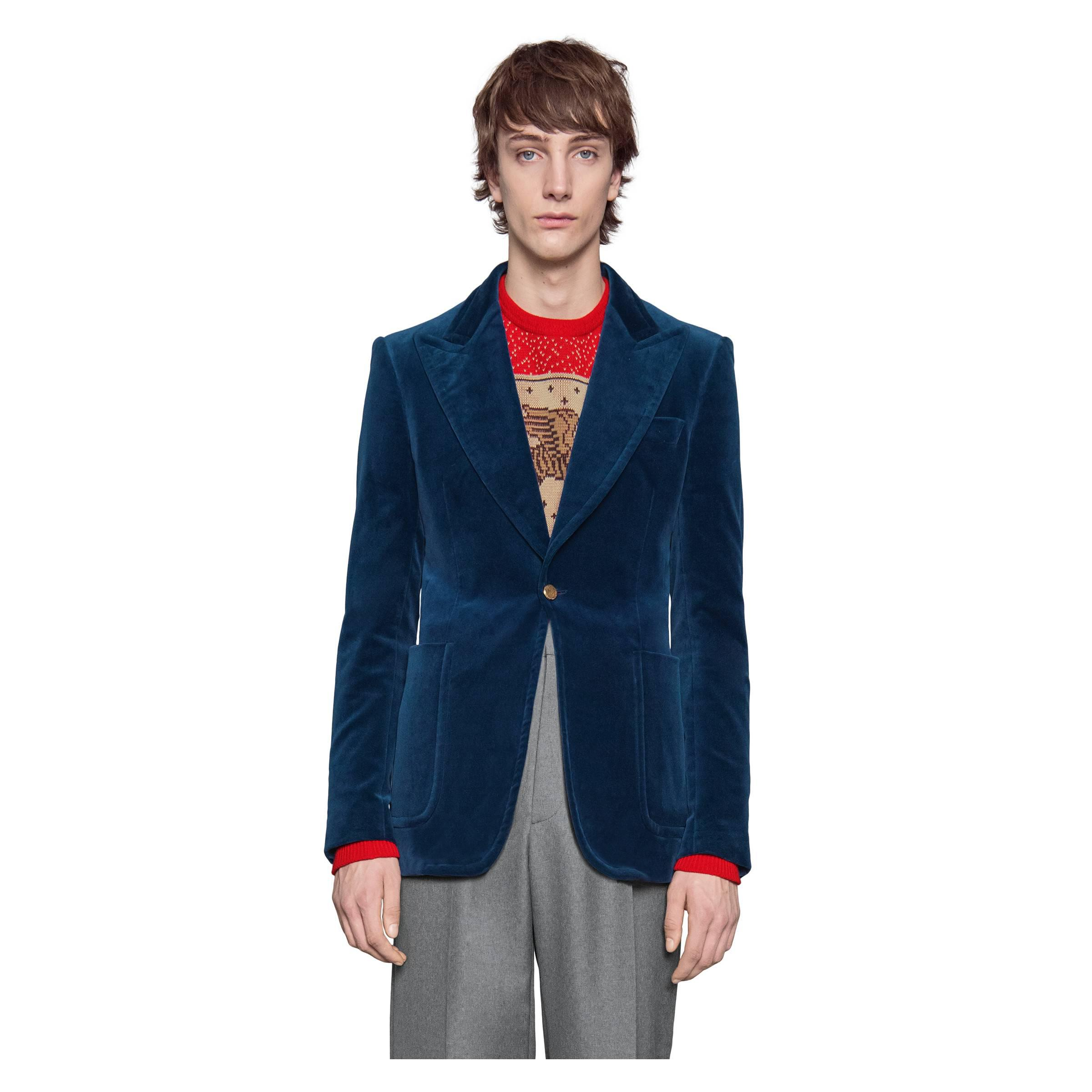 ab30dfafd Gucci - Blue Velvet Formal Jacket for Men - Lyst. View fullscreen