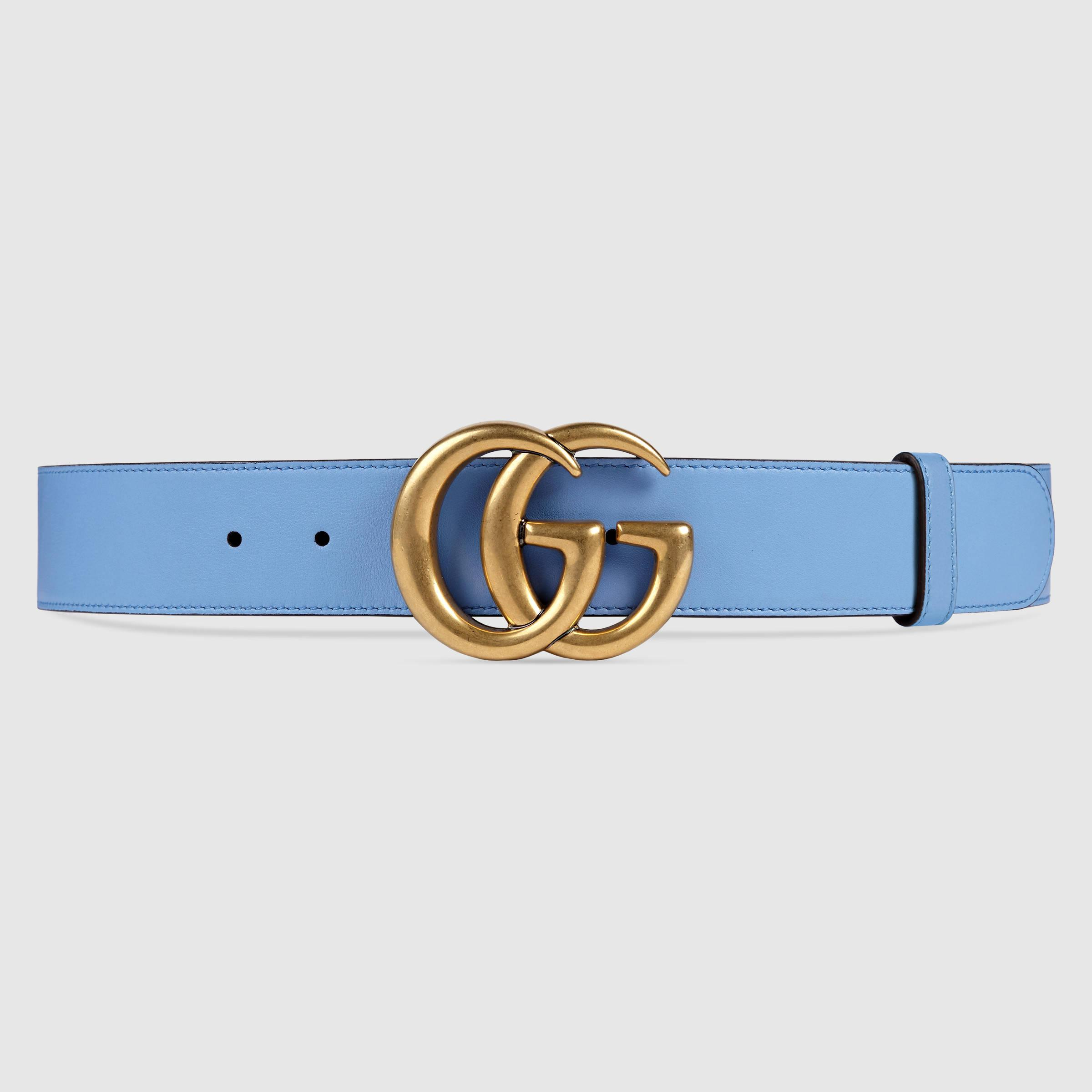 lyst gucci leather belt with double g buckle in blue
