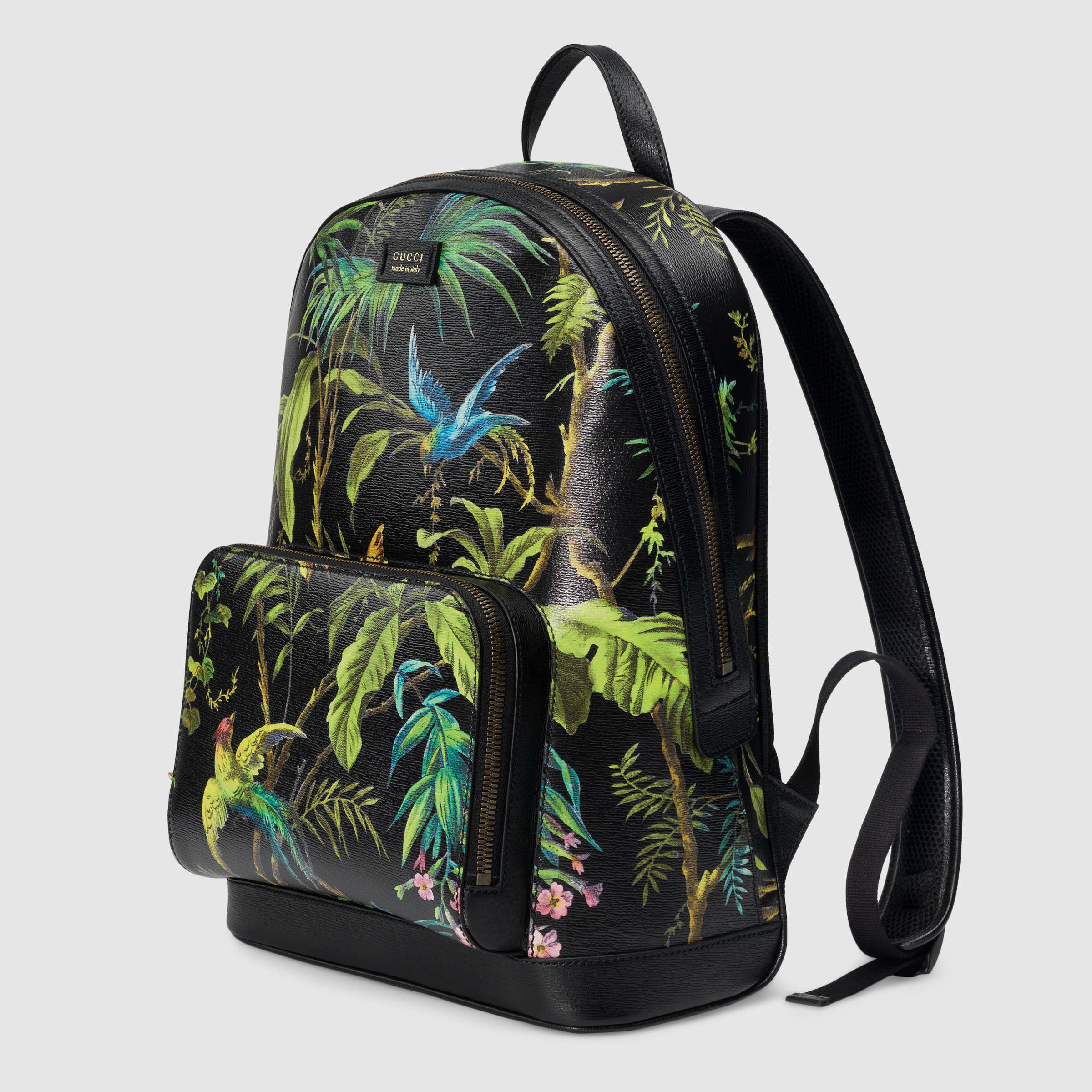 04b88a1ed33 Lyst - Gucci Tropical Print Leather Backpack in Brown