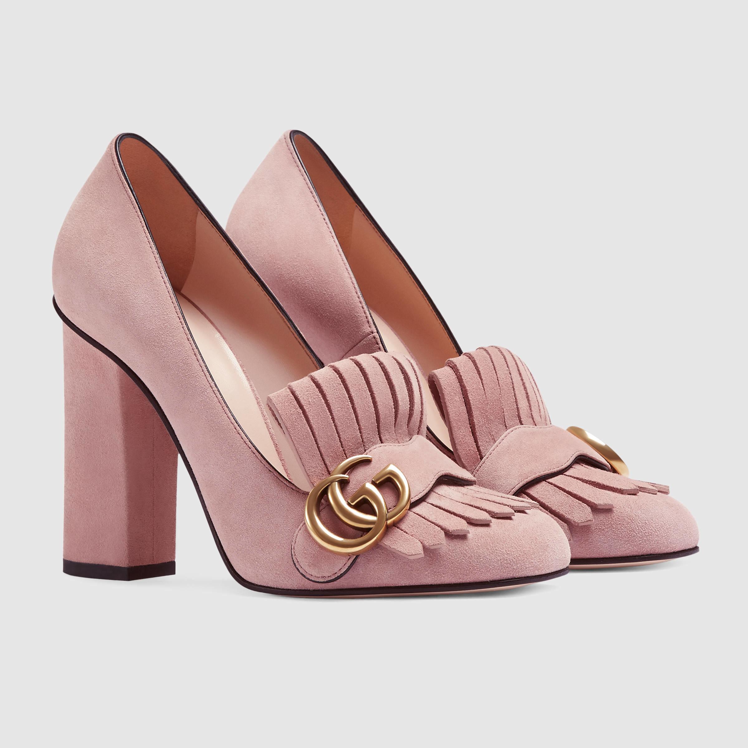 cb74e16c9 Gucci Suede Pump in Pink - Lyst