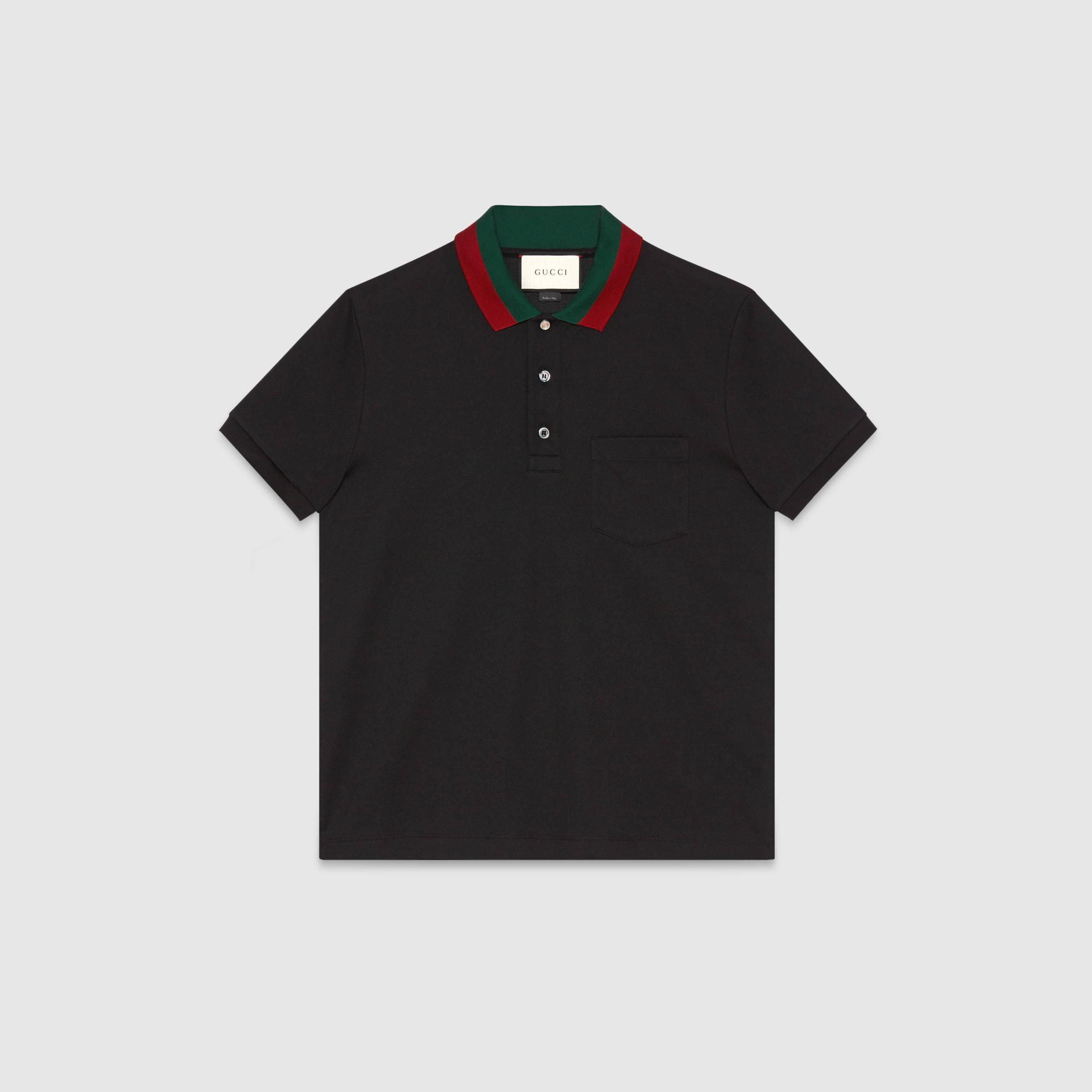 c25cb2e57743 Lyst - Gucci Cotton Polo With Web Collar in Black for Men