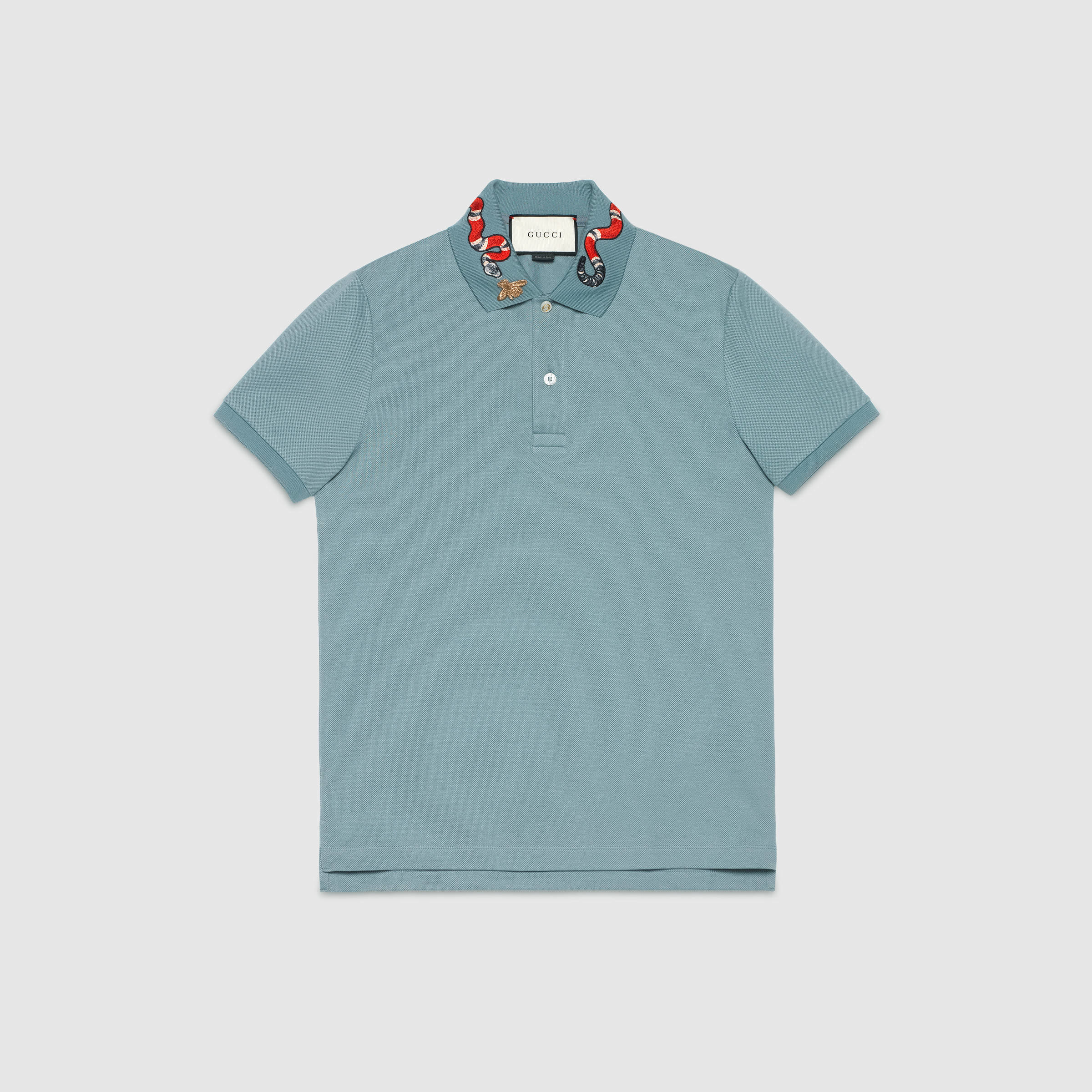 80b6f39f8f35 Gucci Cotton Polo With Snake Embroidery in Blue for Men - Lyst