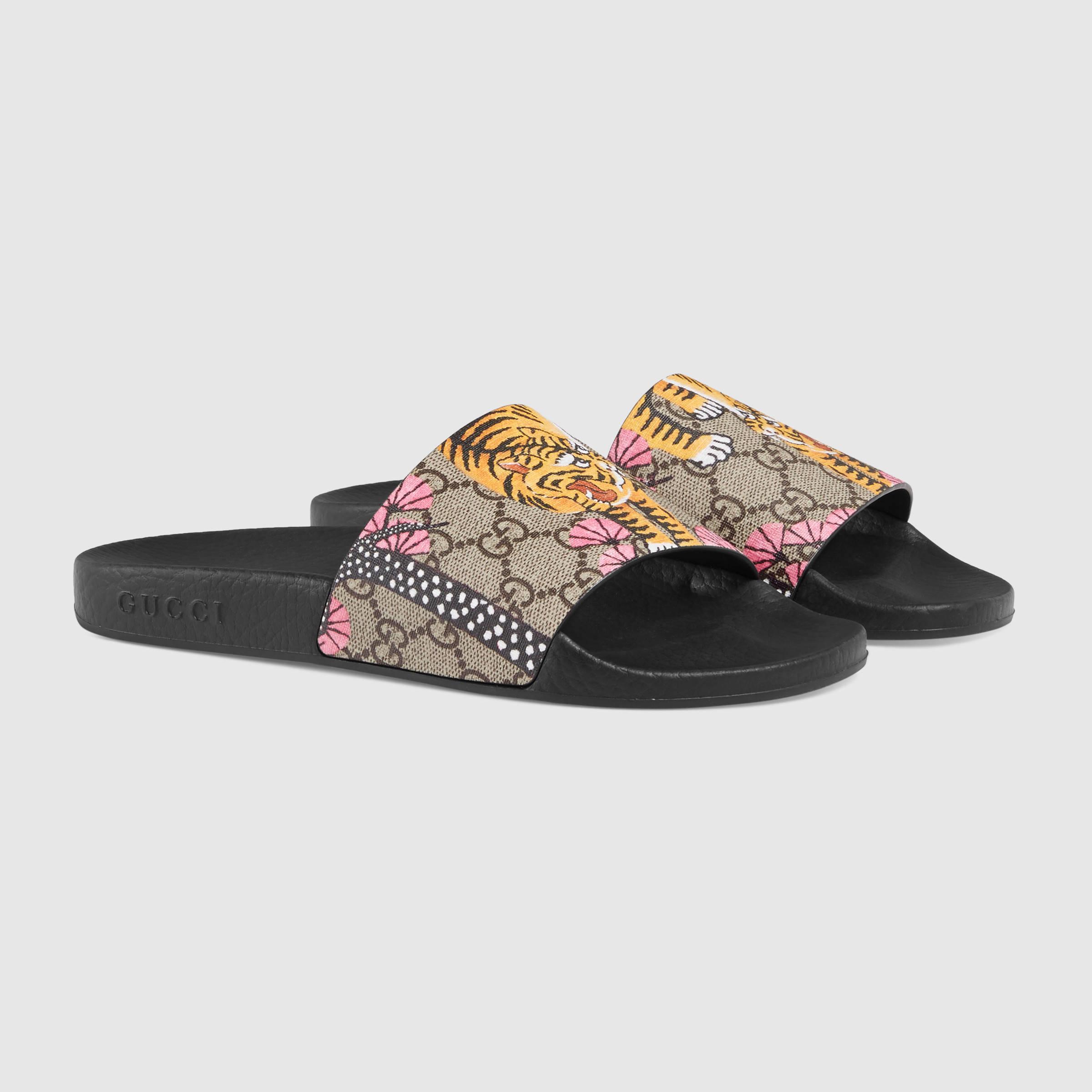 e45beafb16b8 Lyst - Gucci Pursuit Bengal Slide Sandal