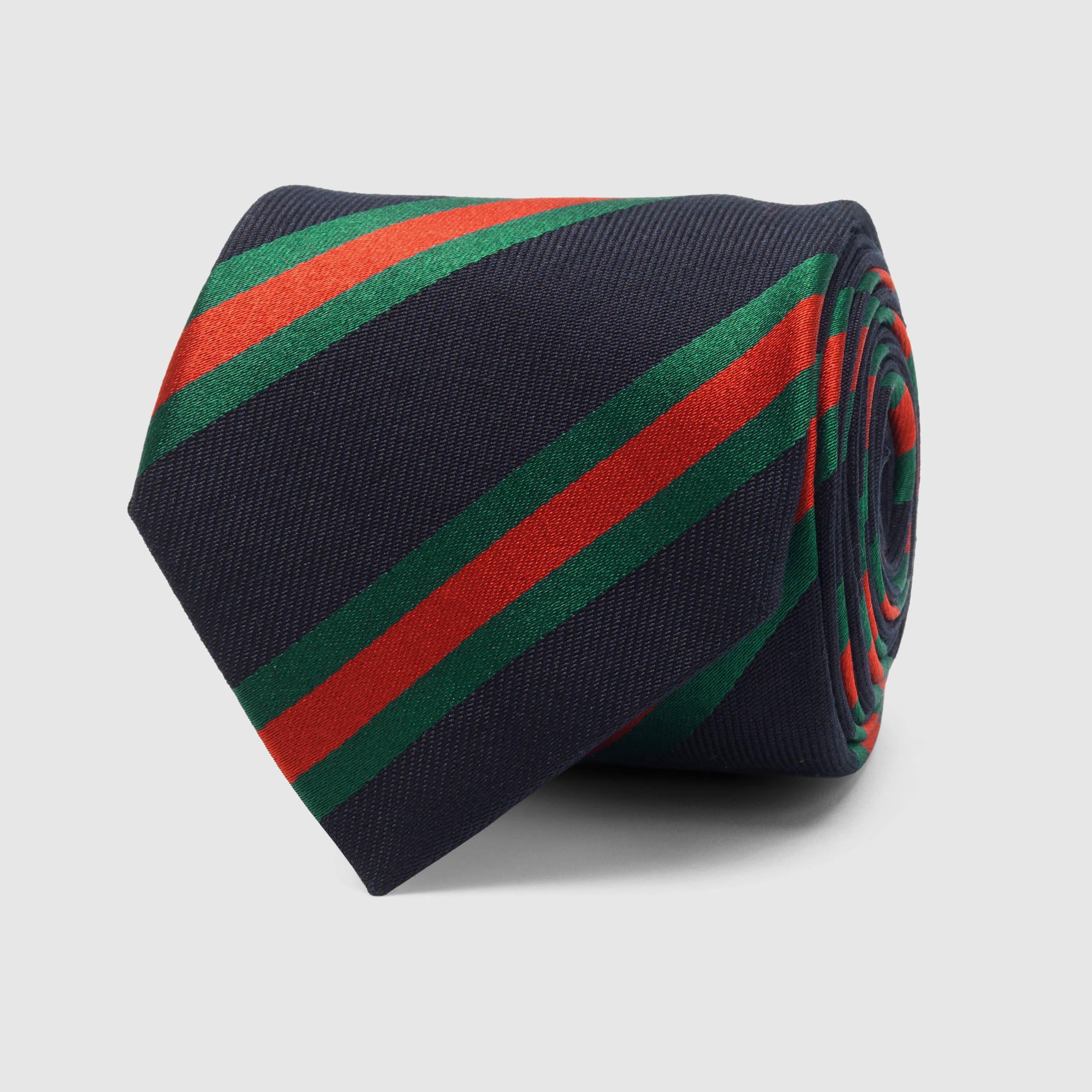 Mens Striped Textured Silk-Cotton Necktie Gucci swxXdr9Xe