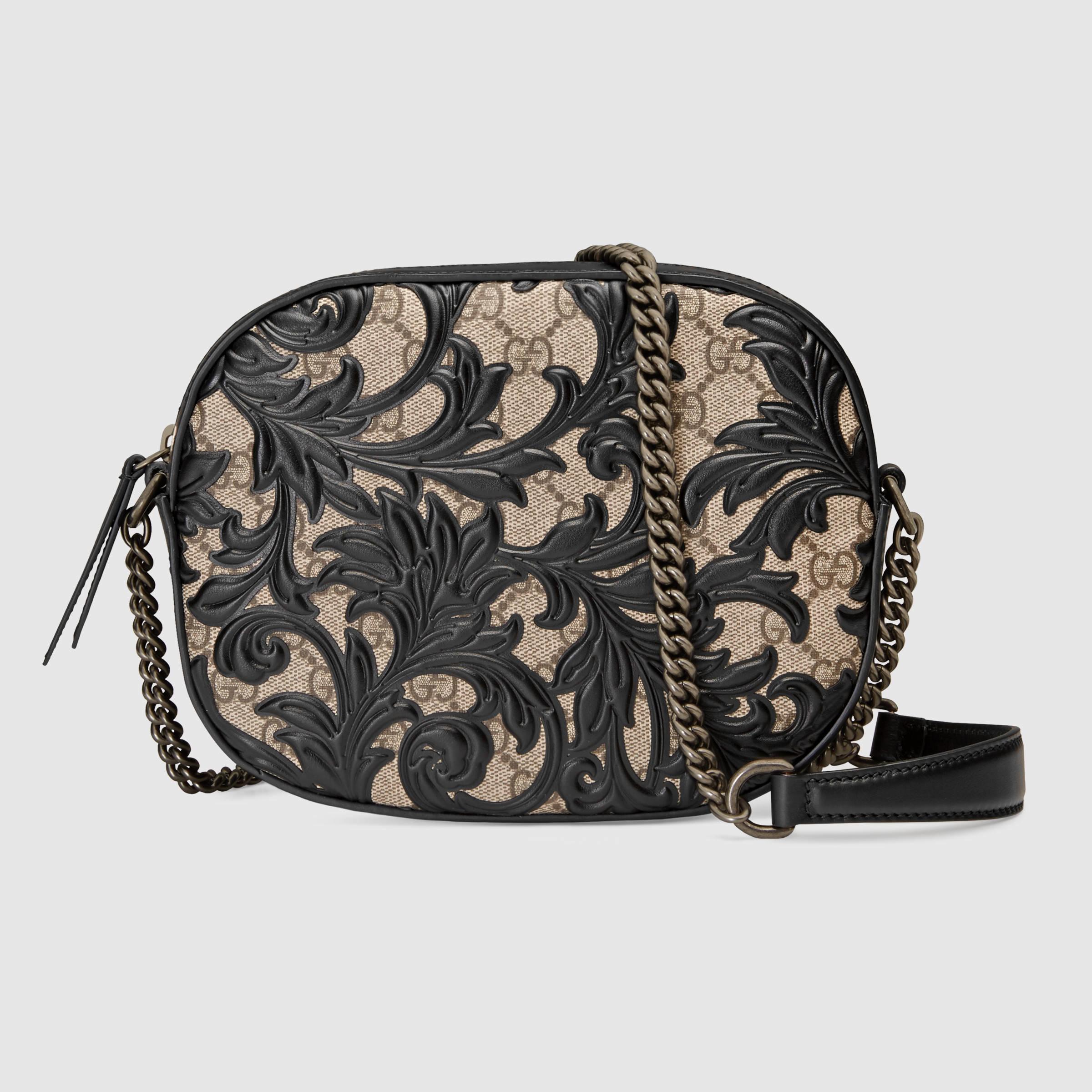 3f1945690a6 Lyst - Gucci Arabesque Gg Supreme Mini Chain Bag in Black