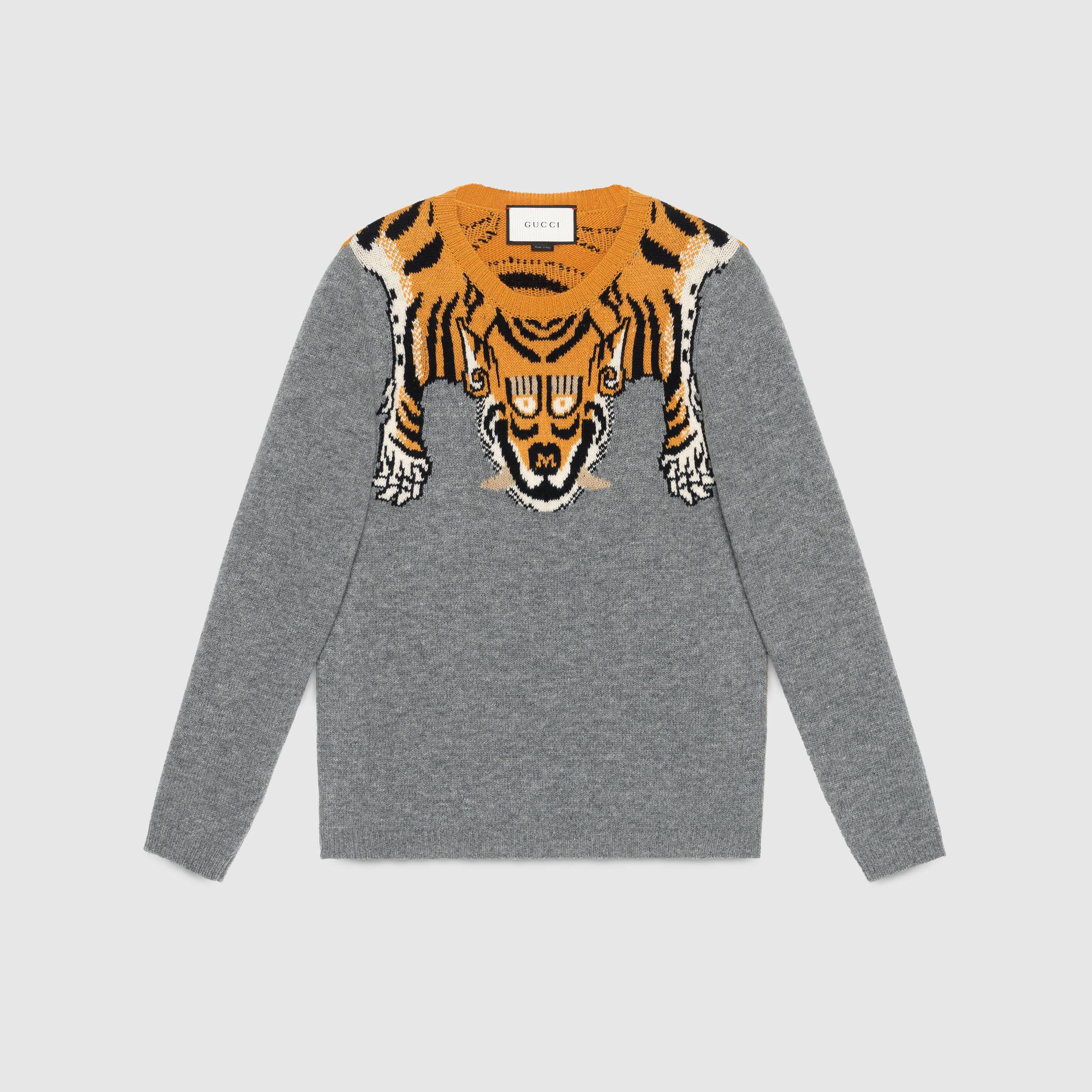 Gucci Wool Sweater With Tiger in Gray for Men