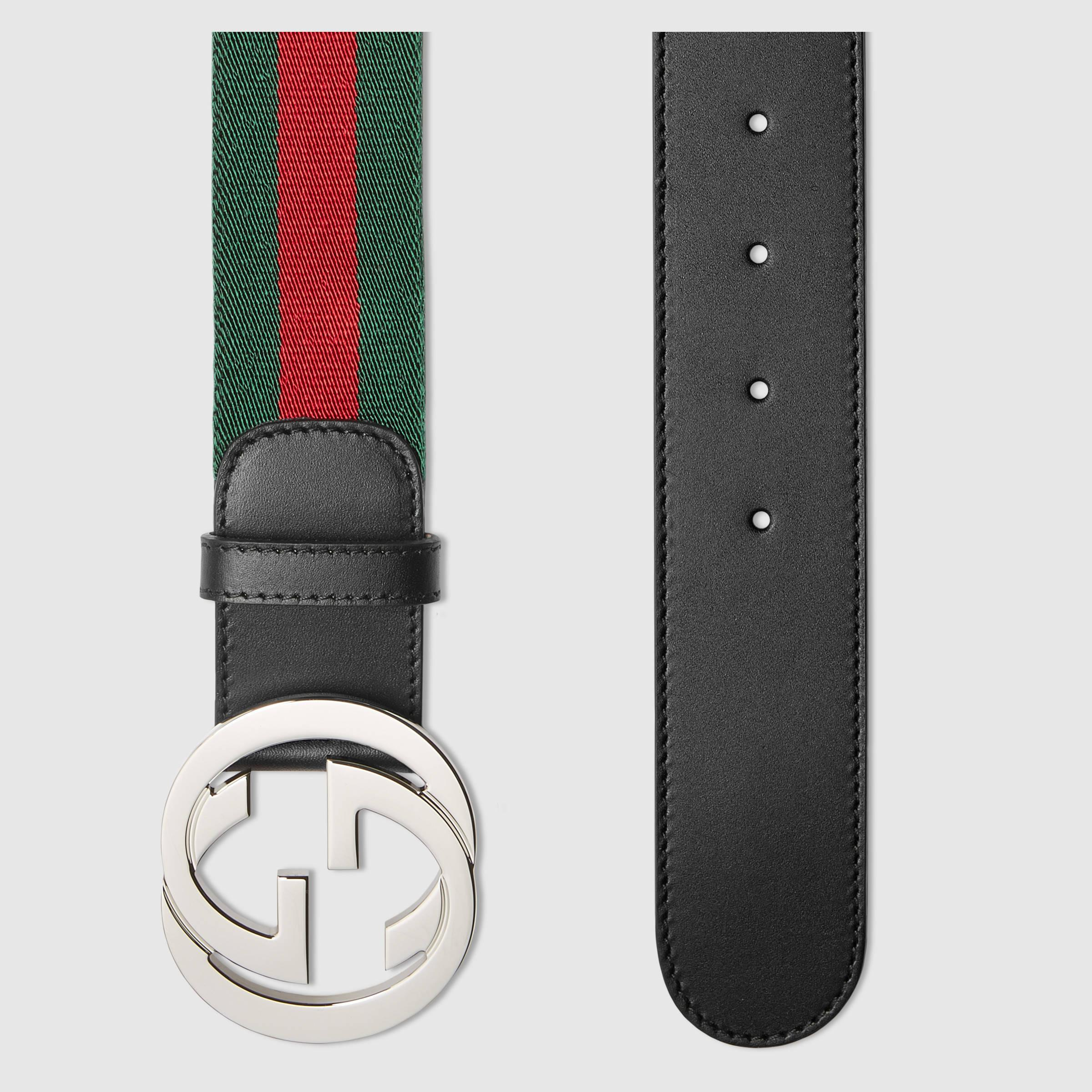 Lyst Gucci Web Belt With G Buckle In Green For Men