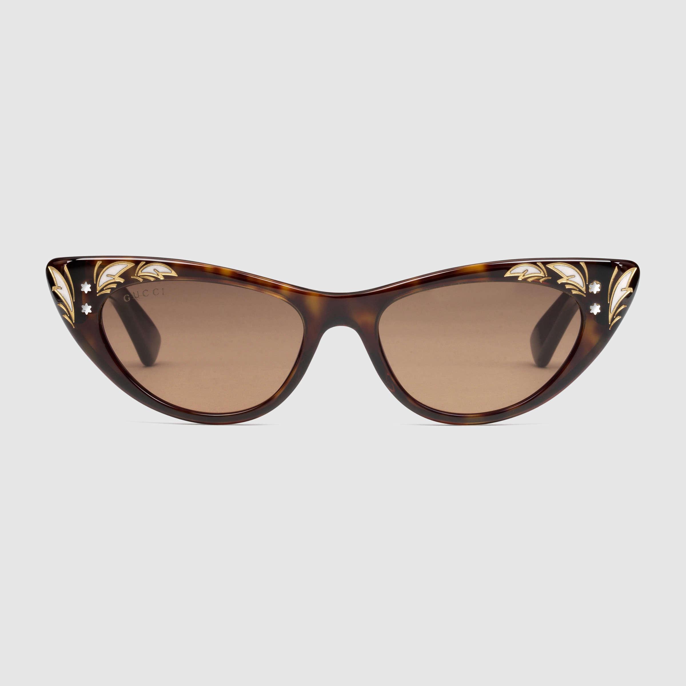 cf59059e151 Lyst - Gucci Cat Eye Sunglasses in Brown