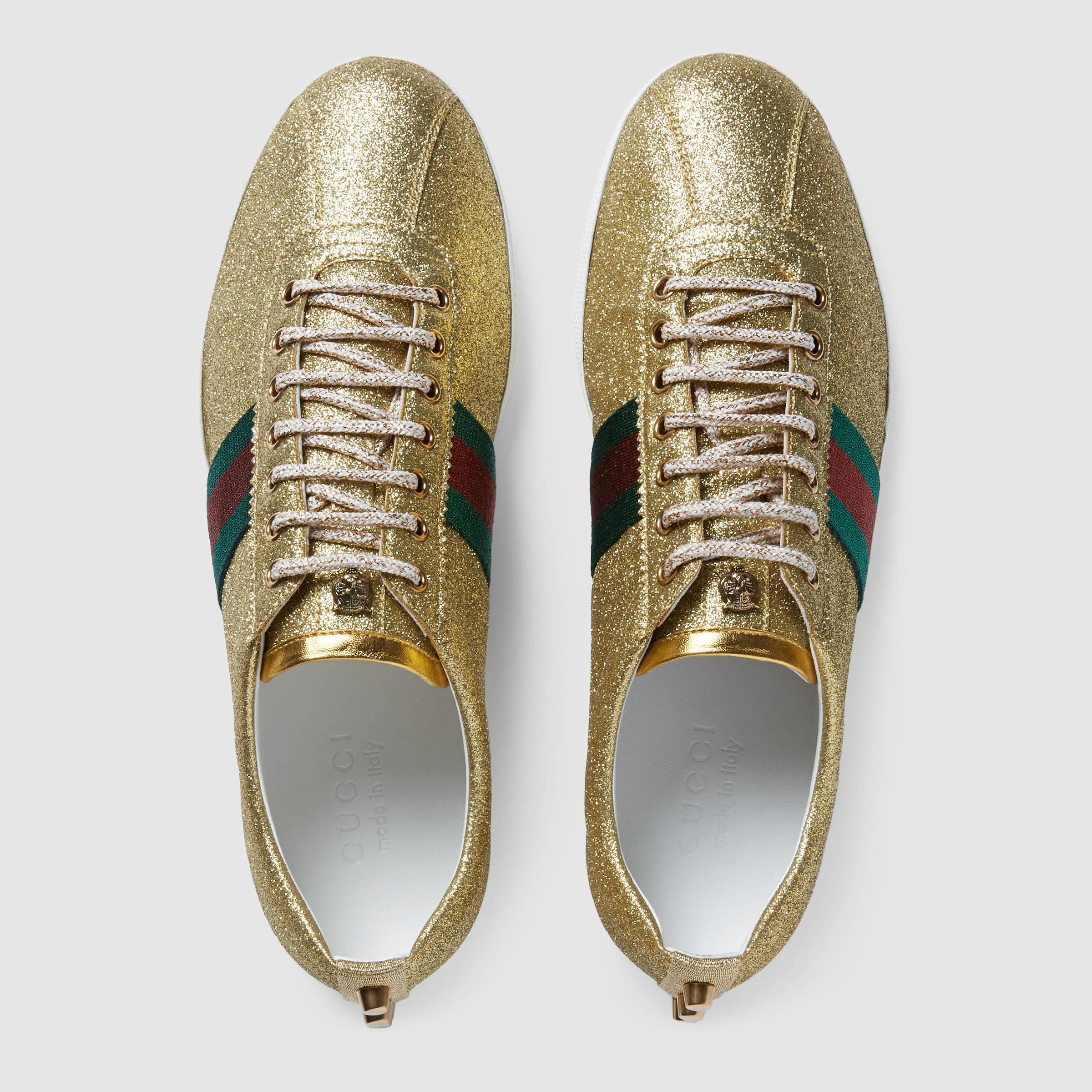 d8abe83eef4c Gucci Glitter Web Sneaker in Metallic for Men - Lyst