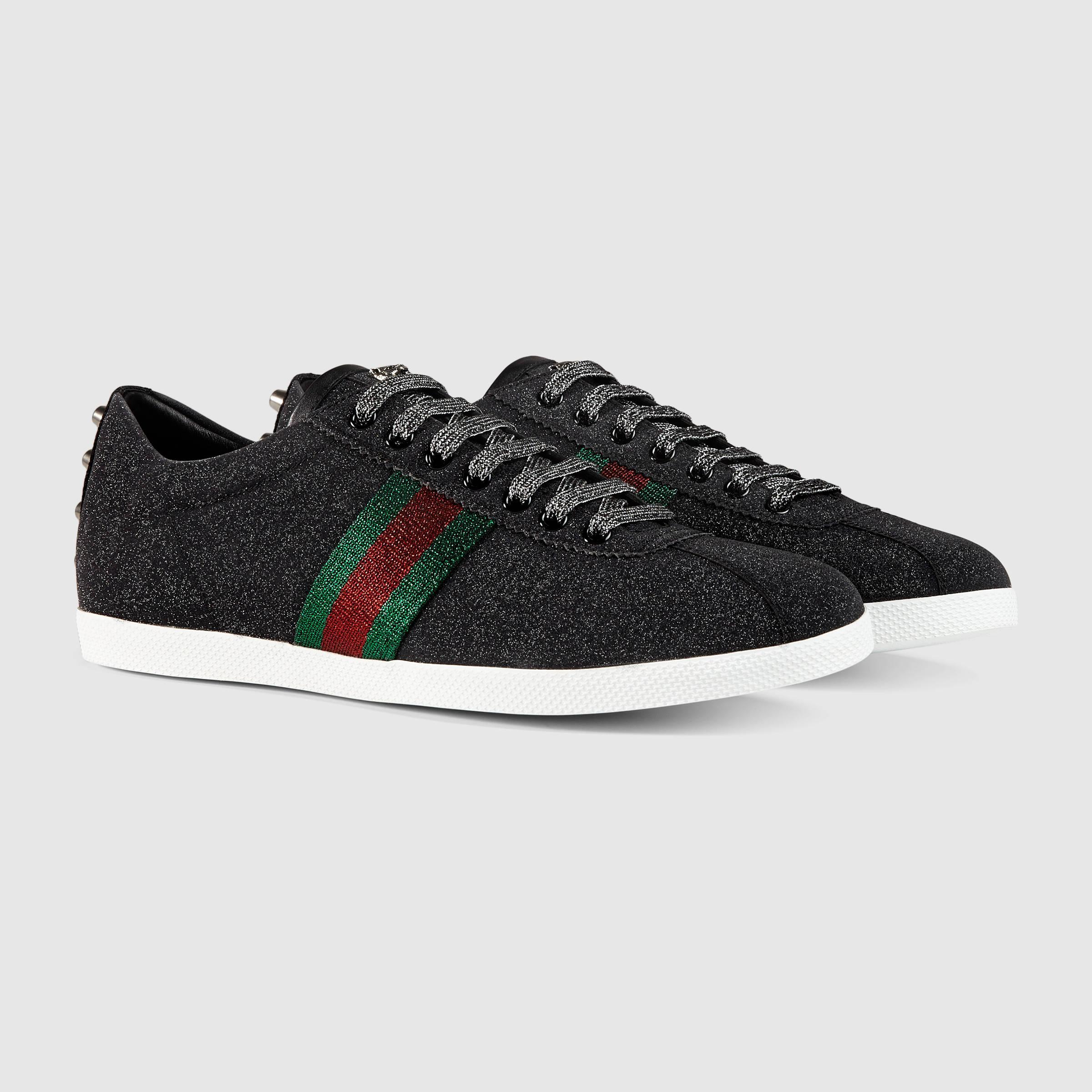 ce81a417e6e Lyst - Gucci Glitter Web Sneaker in Black for Men