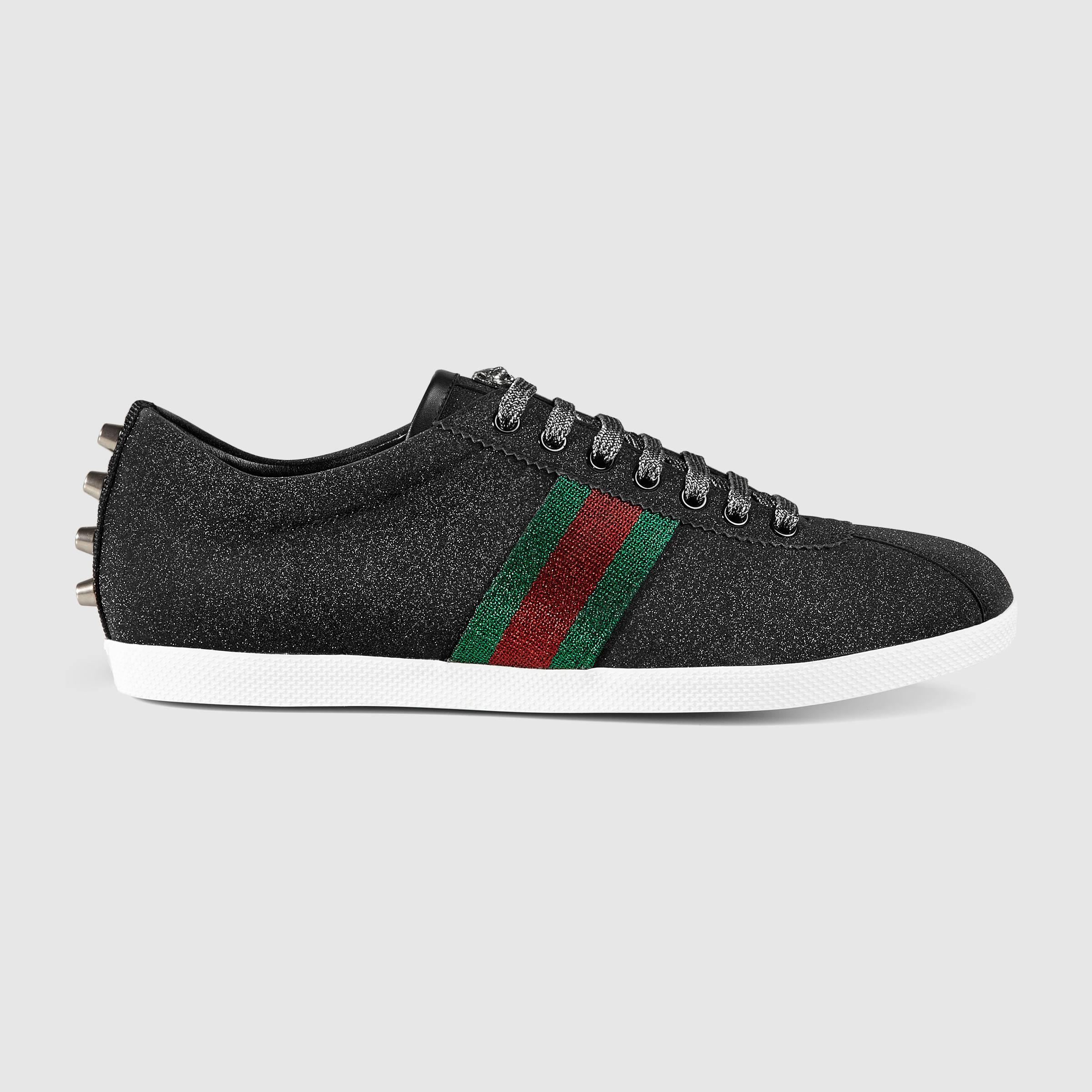 78204a58bd4cb6 Gucci Glitter Web Sneaker in Black for Men - Lyst