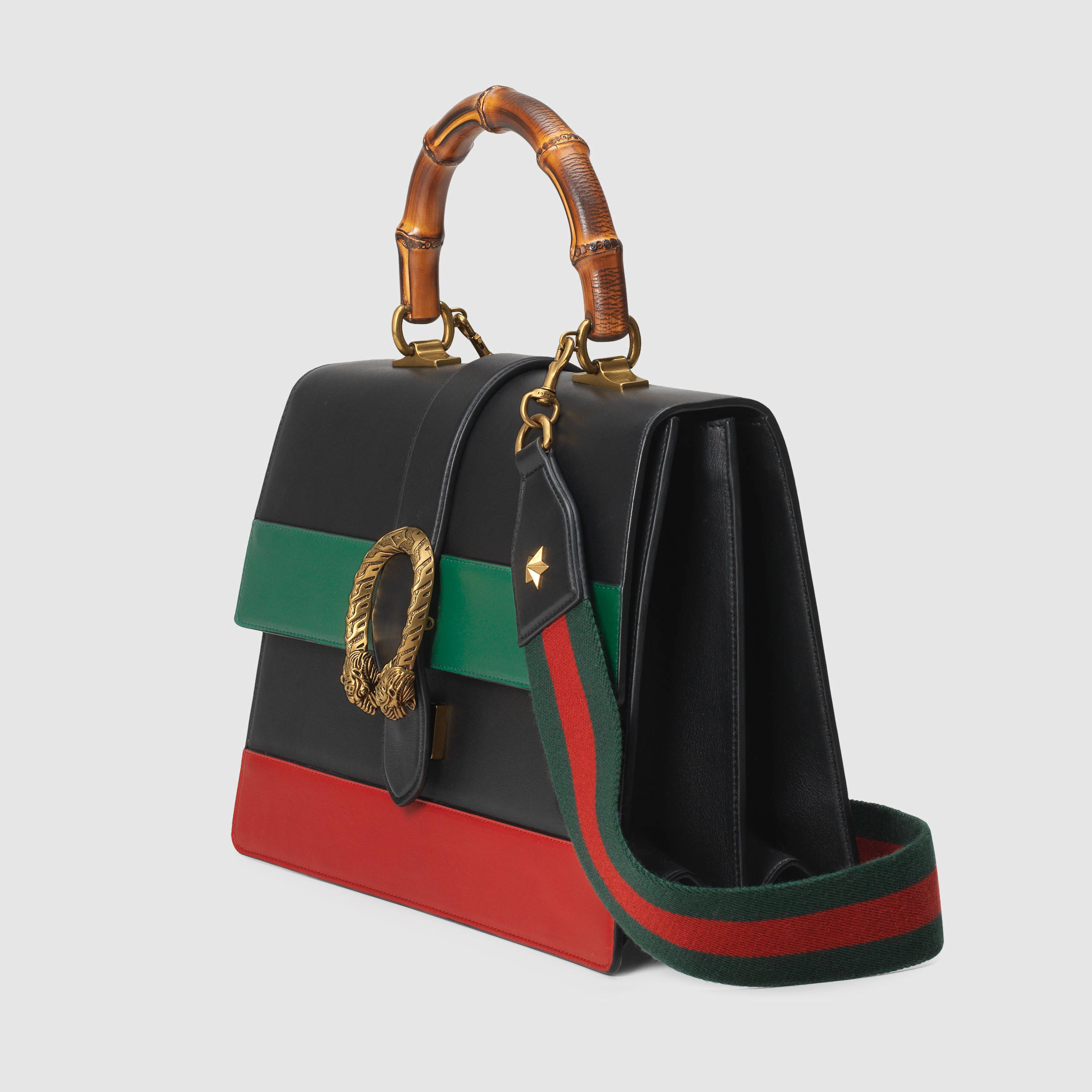 Gucci Dionysus Bamboo Handle Leather Tote In Black Lyst