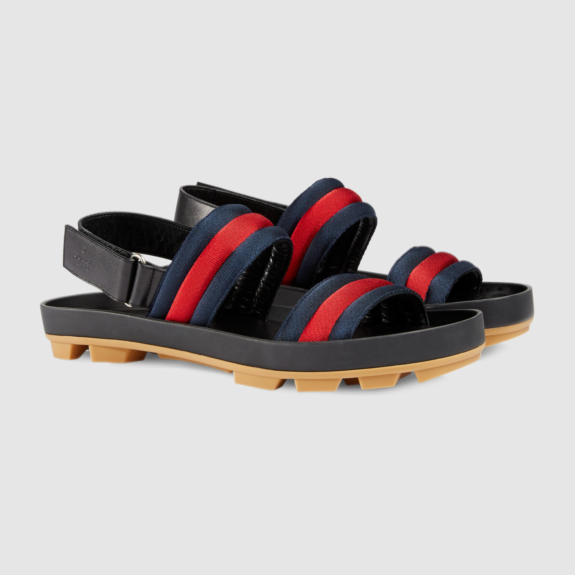 a8dac888e Lyst - Gucci Leather And Web Sandal for Men