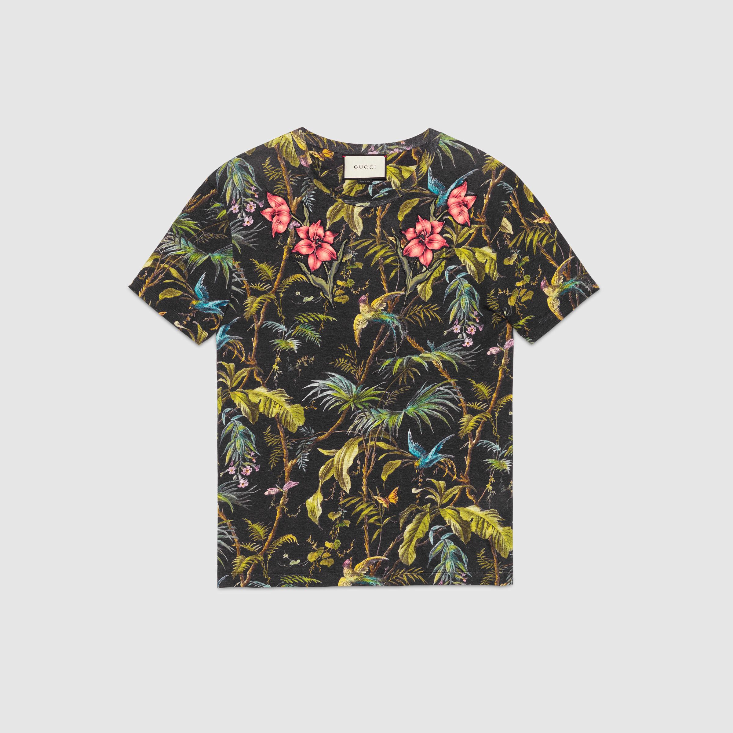 Lyst Gucci Jungle Print And Appliqu Linen T Shirt For Men