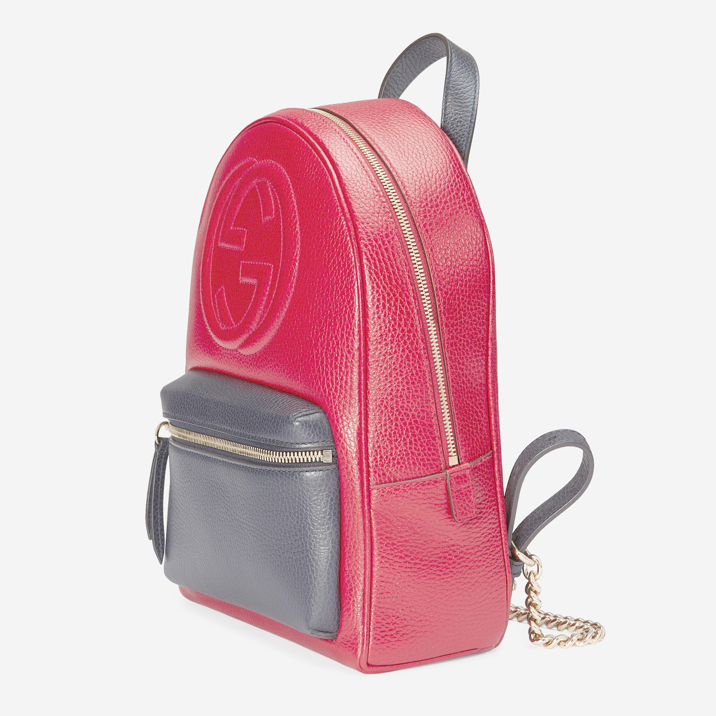 8eec987f213e Lyst - Gucci Soho Leather Chain Backpack in Red