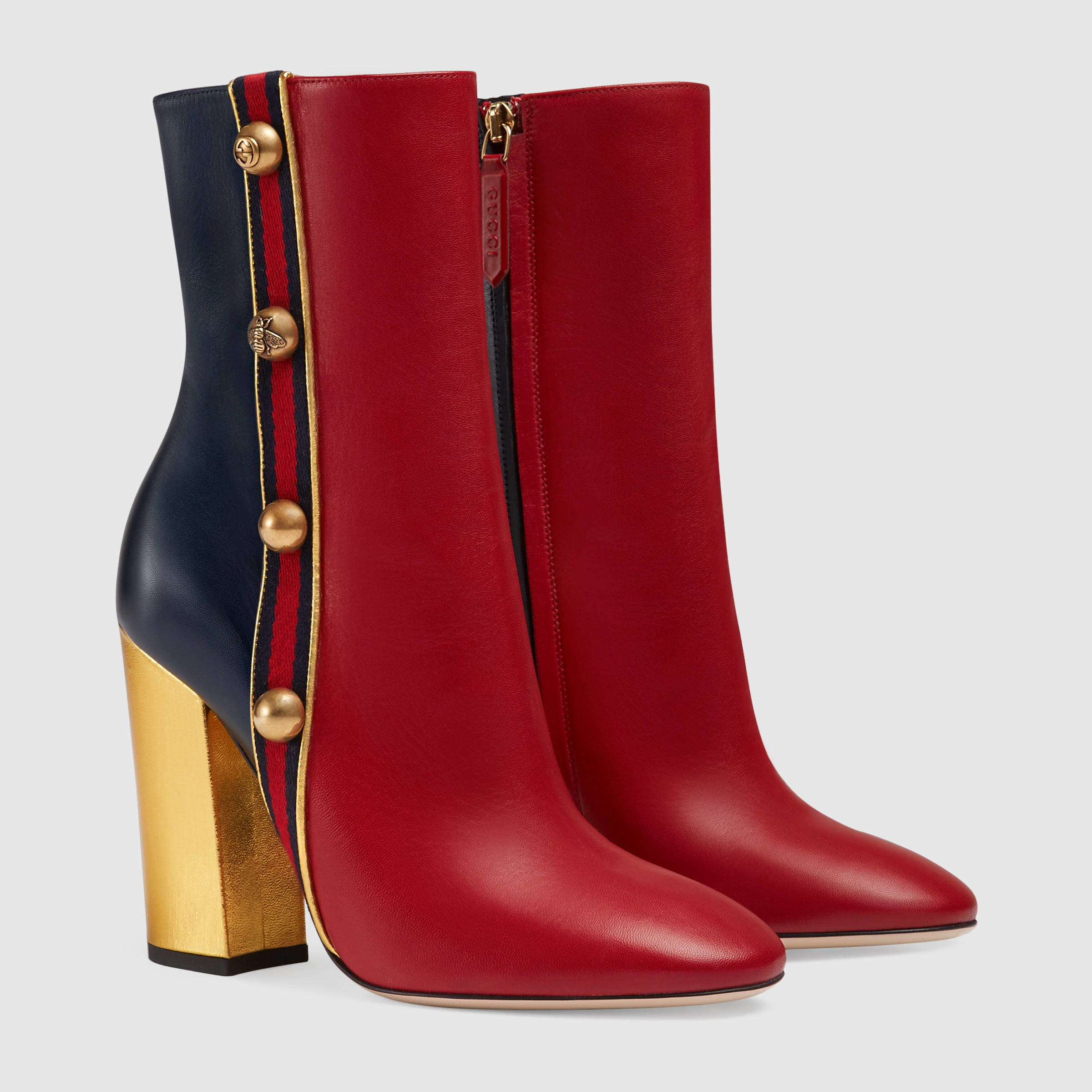 e59c4988078 Lyst - Gucci Carly Leather Ankle Boots in Red