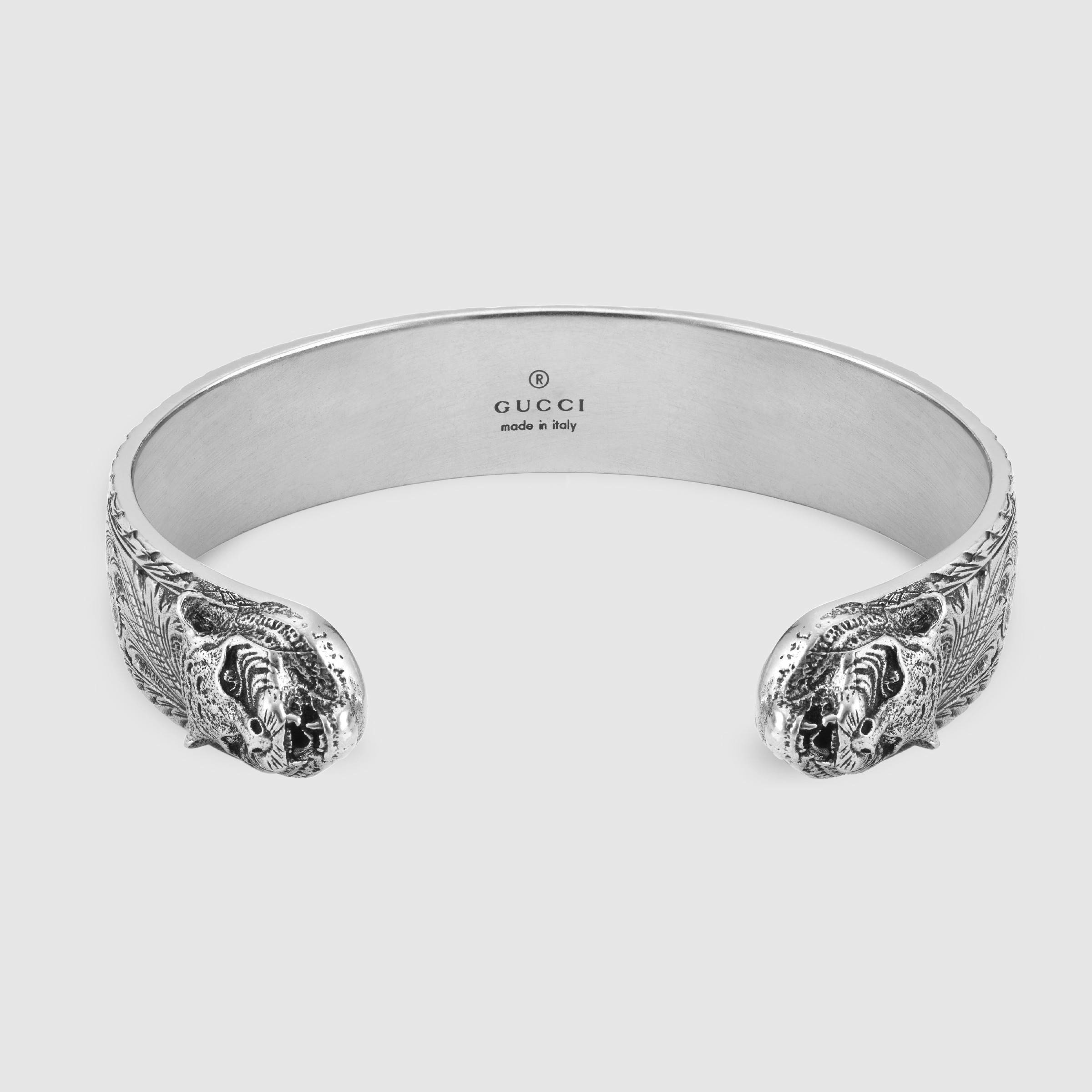 69d8640aa80 Gucci Bracelet In Silver With Feline Head in Metallic for Men - Lyst
