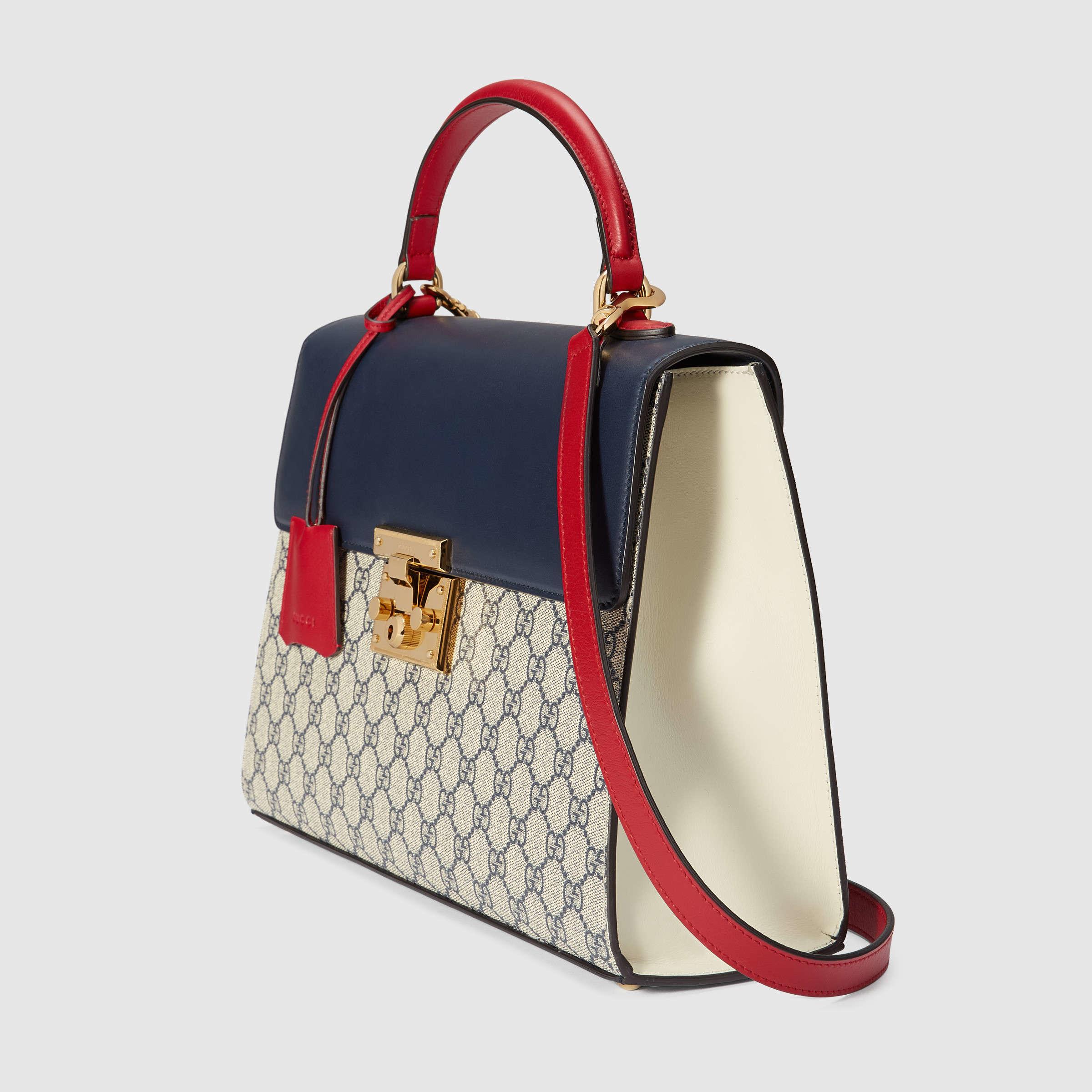 7a3c839b9ef4c Lyst - Gucci Padlock GG Supreme Top Handle Bag