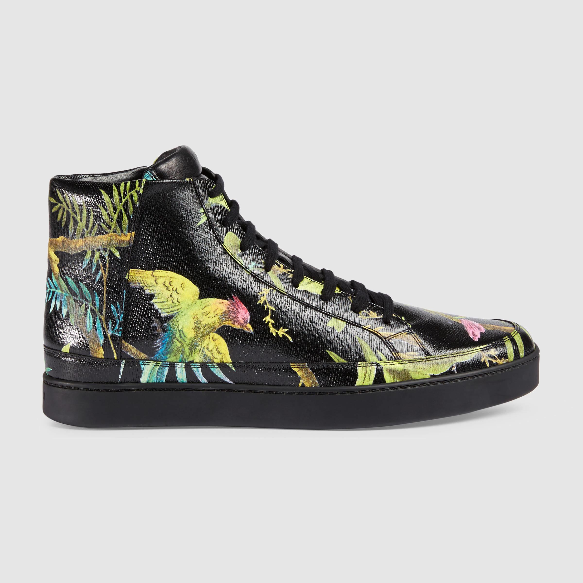 f6297f5a0621 Lyst - Gucci Tropical Print High-top Sneaker in Black