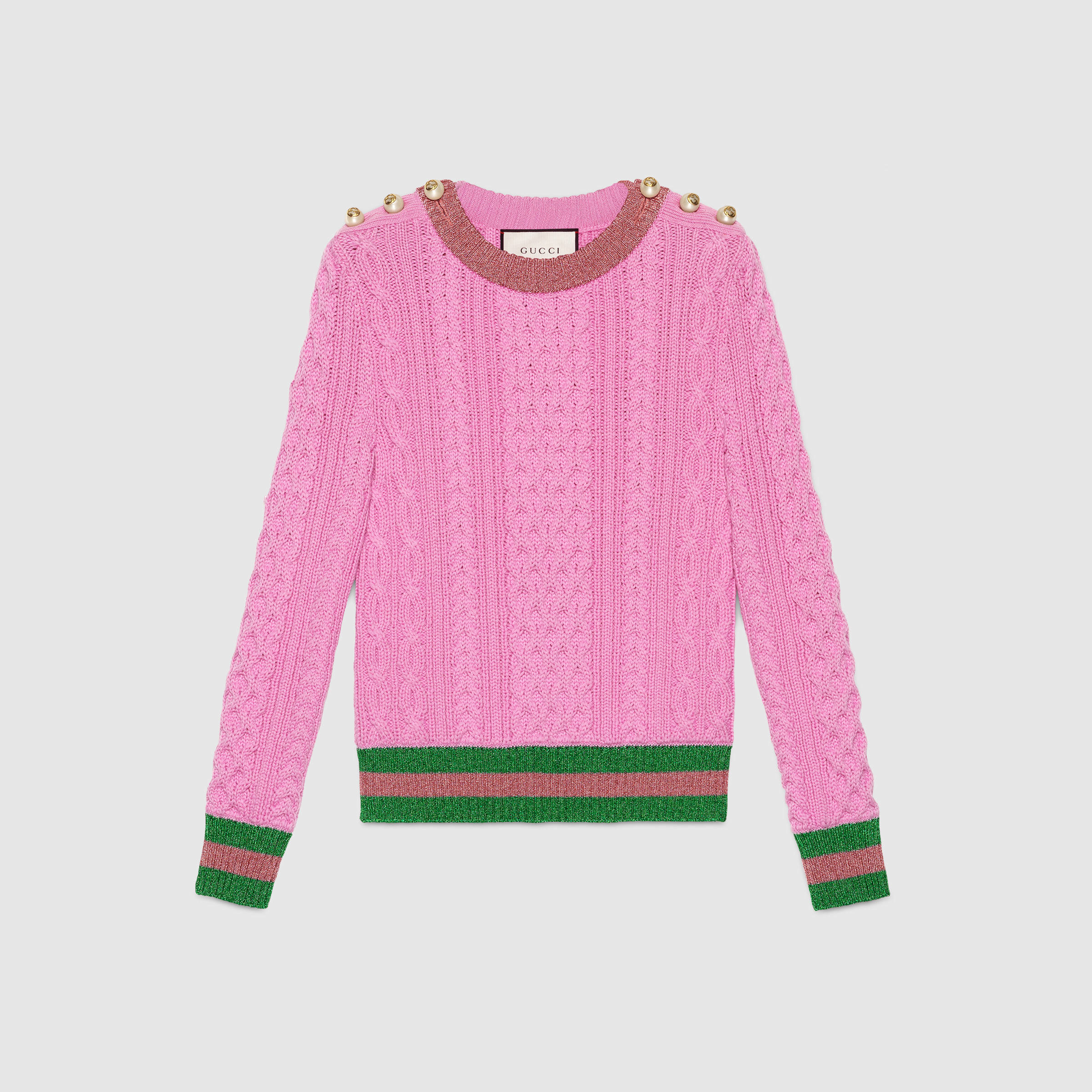 Gucci Merino Wool With Lurex Web in Pink | Lyst