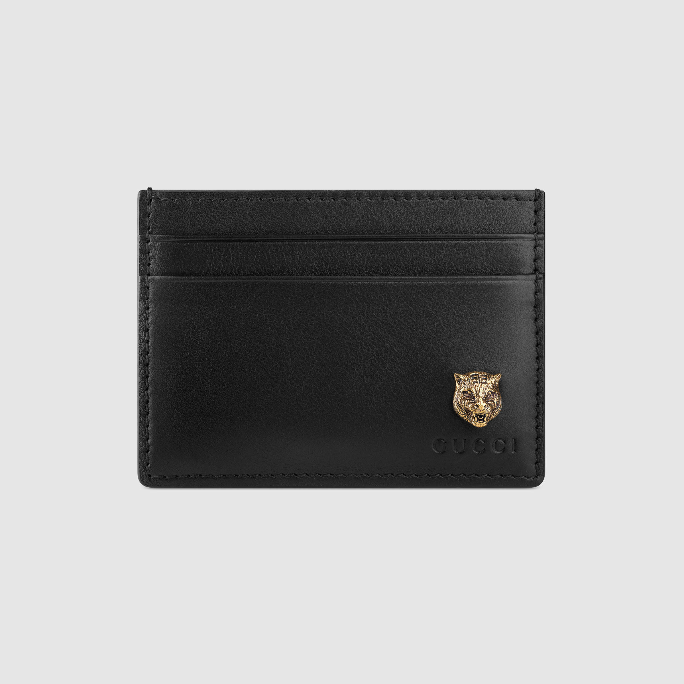 a070880e5317bd Gucci Animalier Leather Card Case in Black for Men - Lyst
