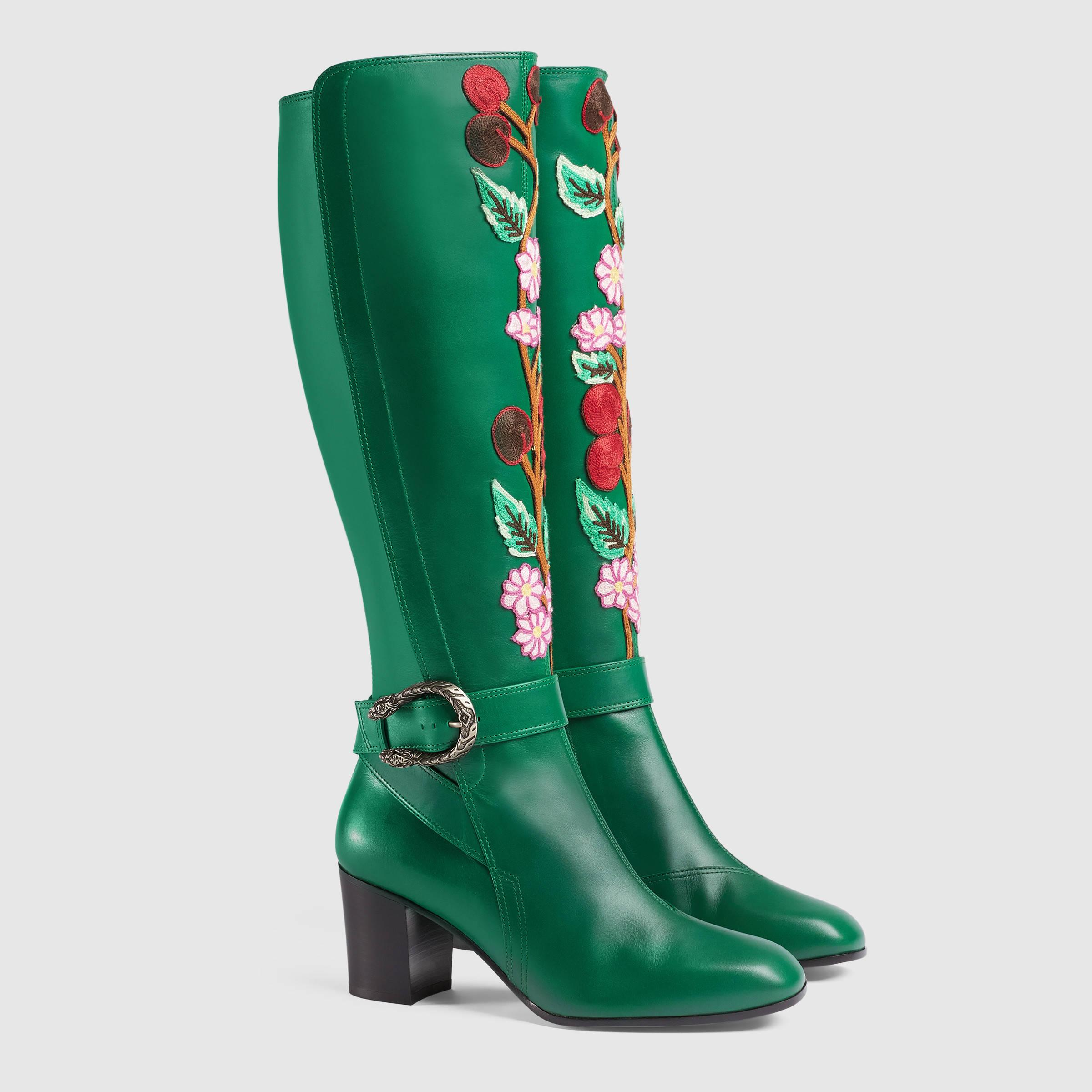 f379cf694 Gucci Embroidered Knee Boot in Green - Lyst