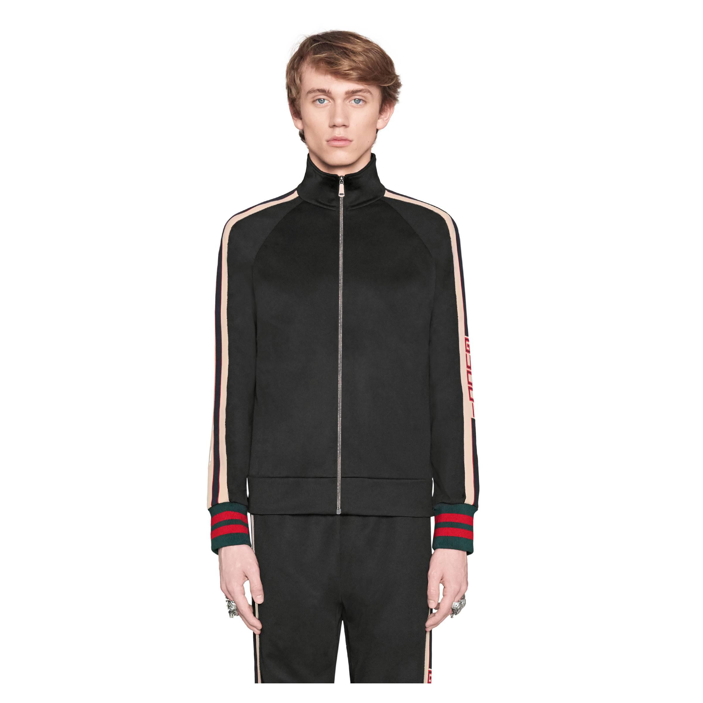 012adf7dc Gucci Technical Jersey Jacket in Black for Men - Save 19% - Lyst
