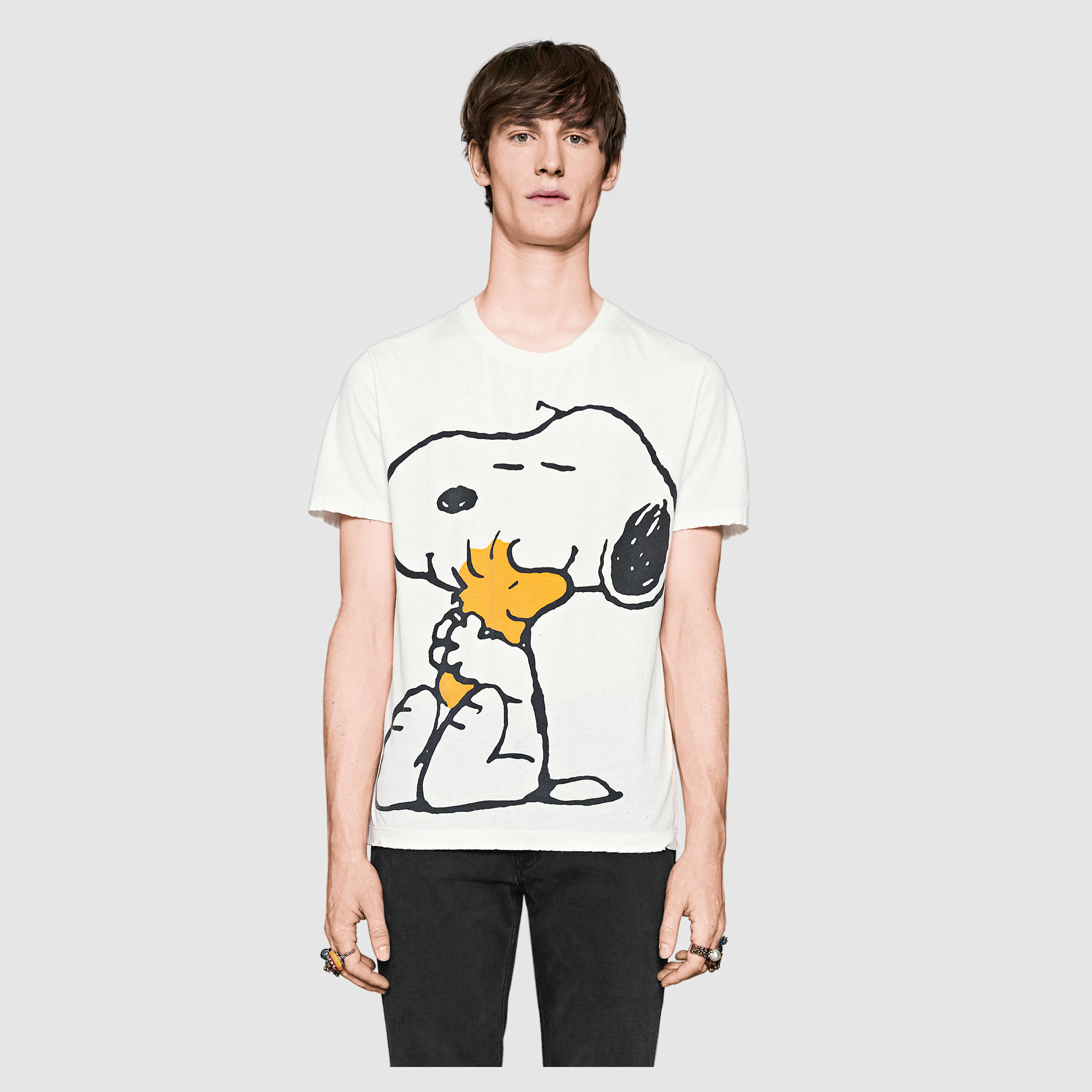 Gucci Cotton Washed T Shirt With Peanuts Print In White