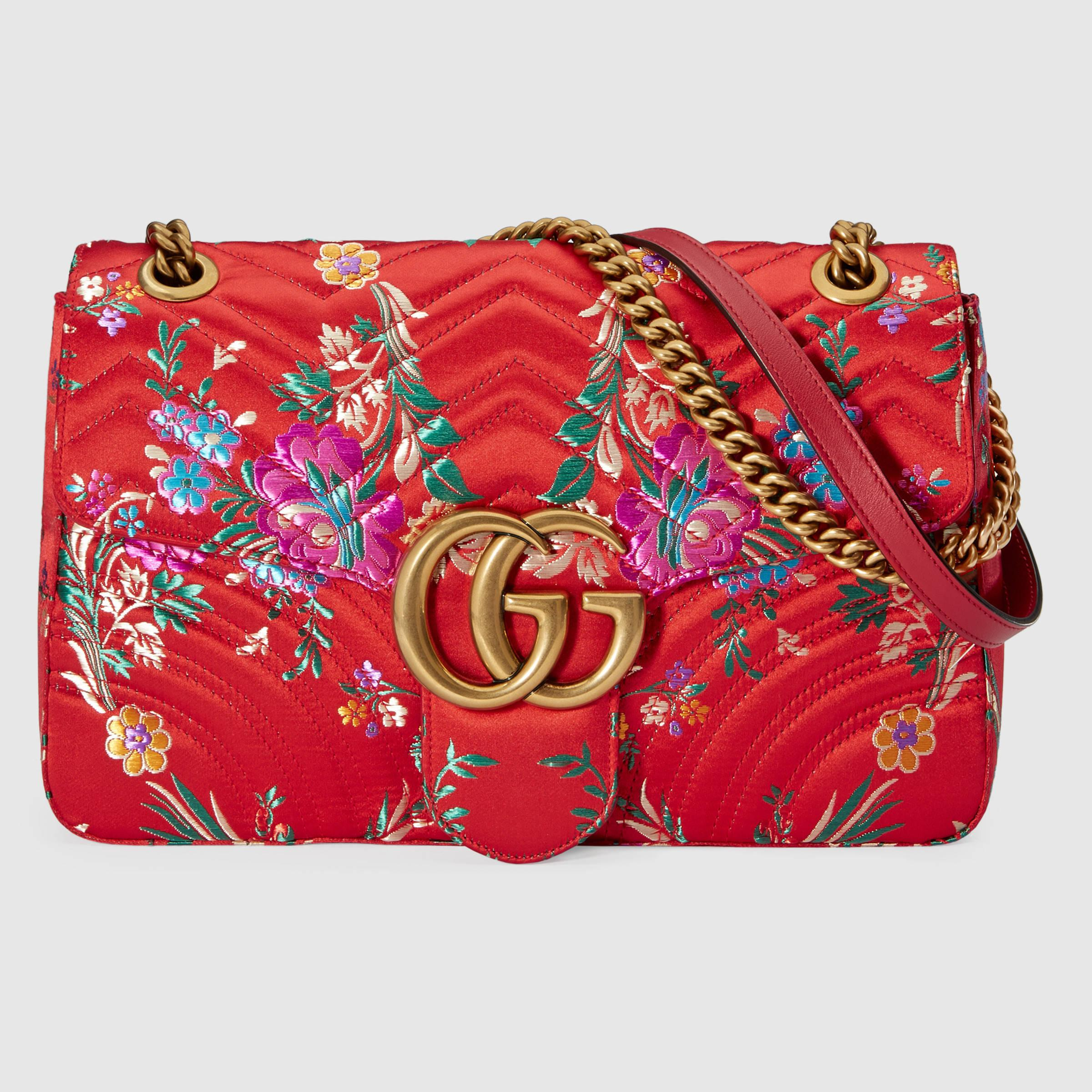 bd714f4c28e9 Gucci Gg Marmont Floral Jacquard Shoulder Bag in Red - Lyst