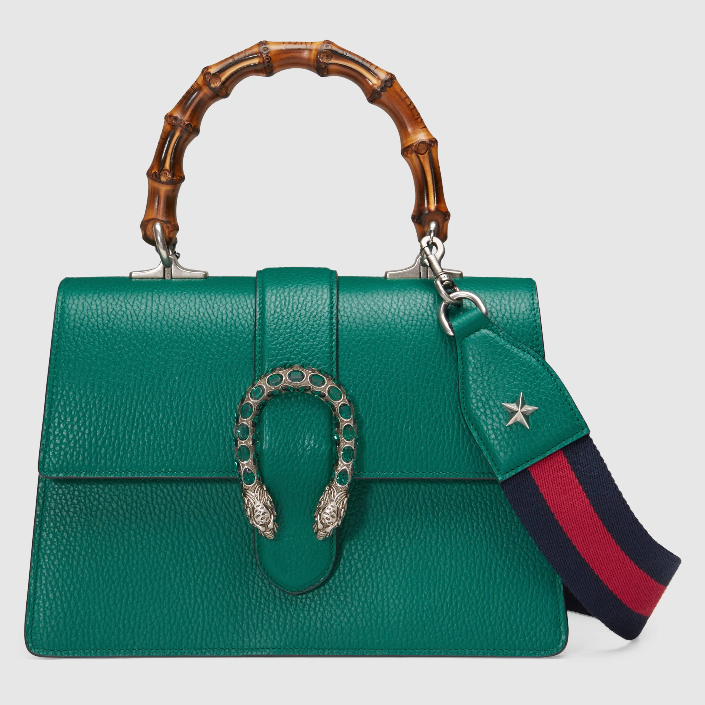 Gucci Dionysus Leather Top Handle Bag In Green Lyst