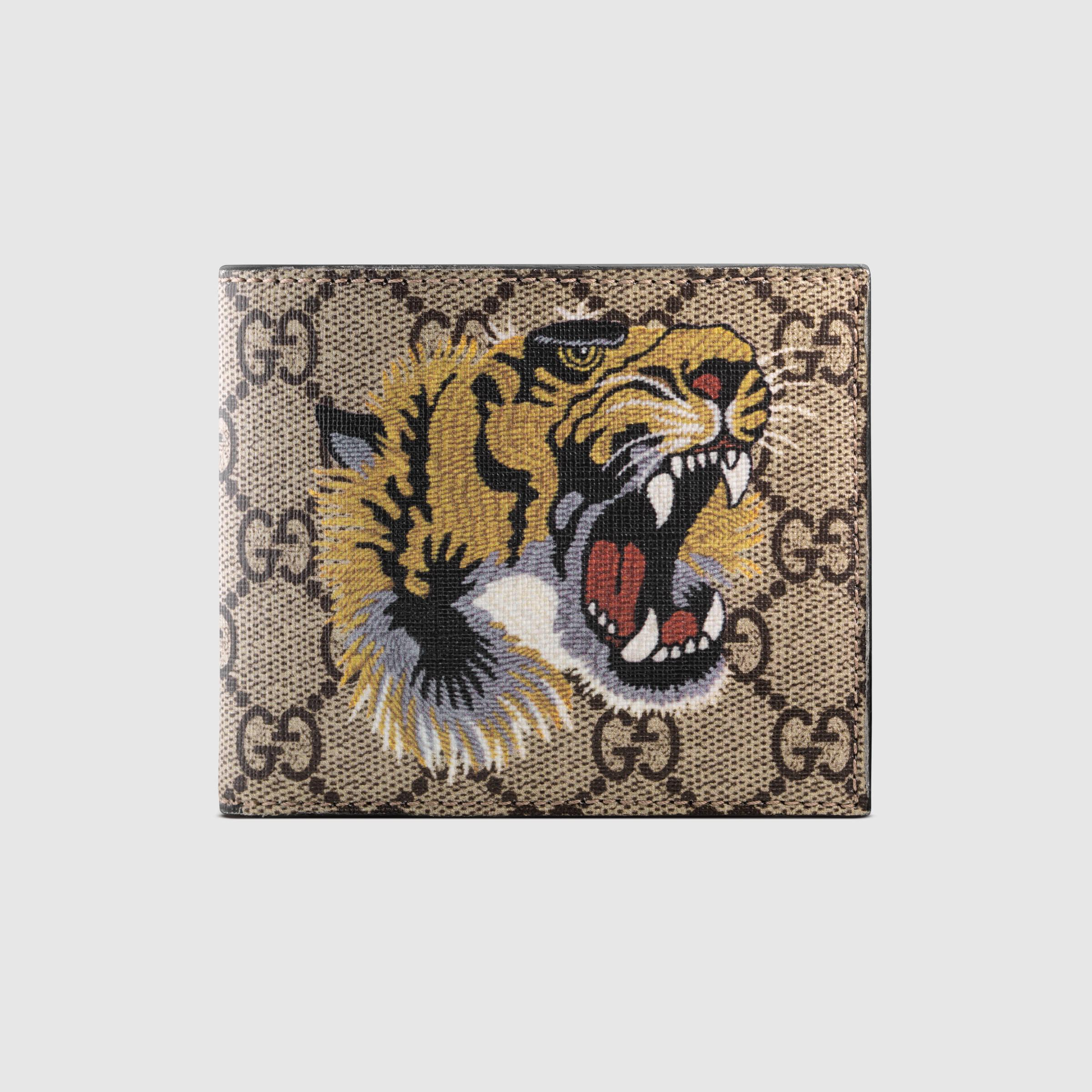 Gucci Tiger Print Gg Supreme Wallet For Men Lyst