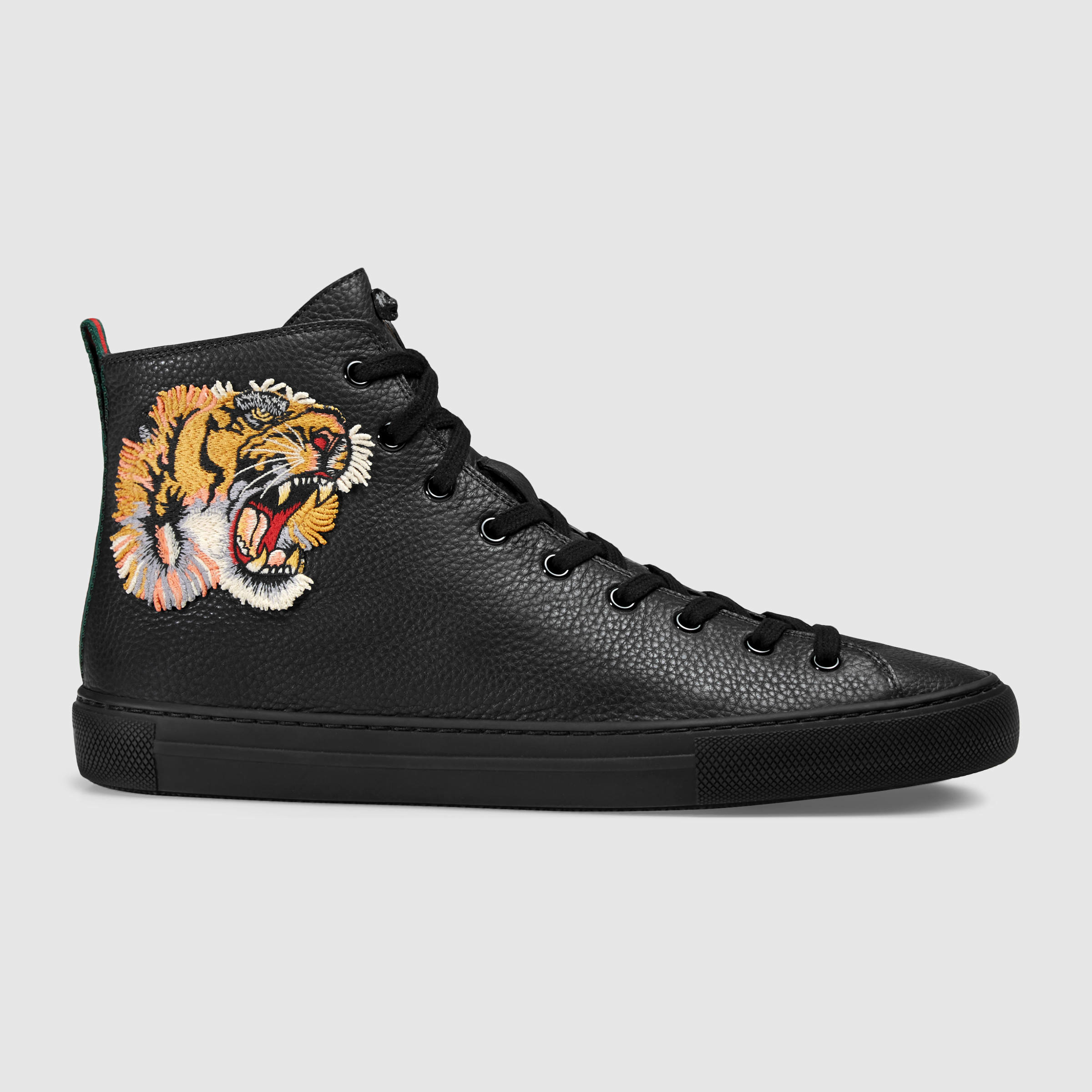 gucci leather high top with tiger in multicolor for men lyst. Black Bedroom Furniture Sets. Home Design Ideas