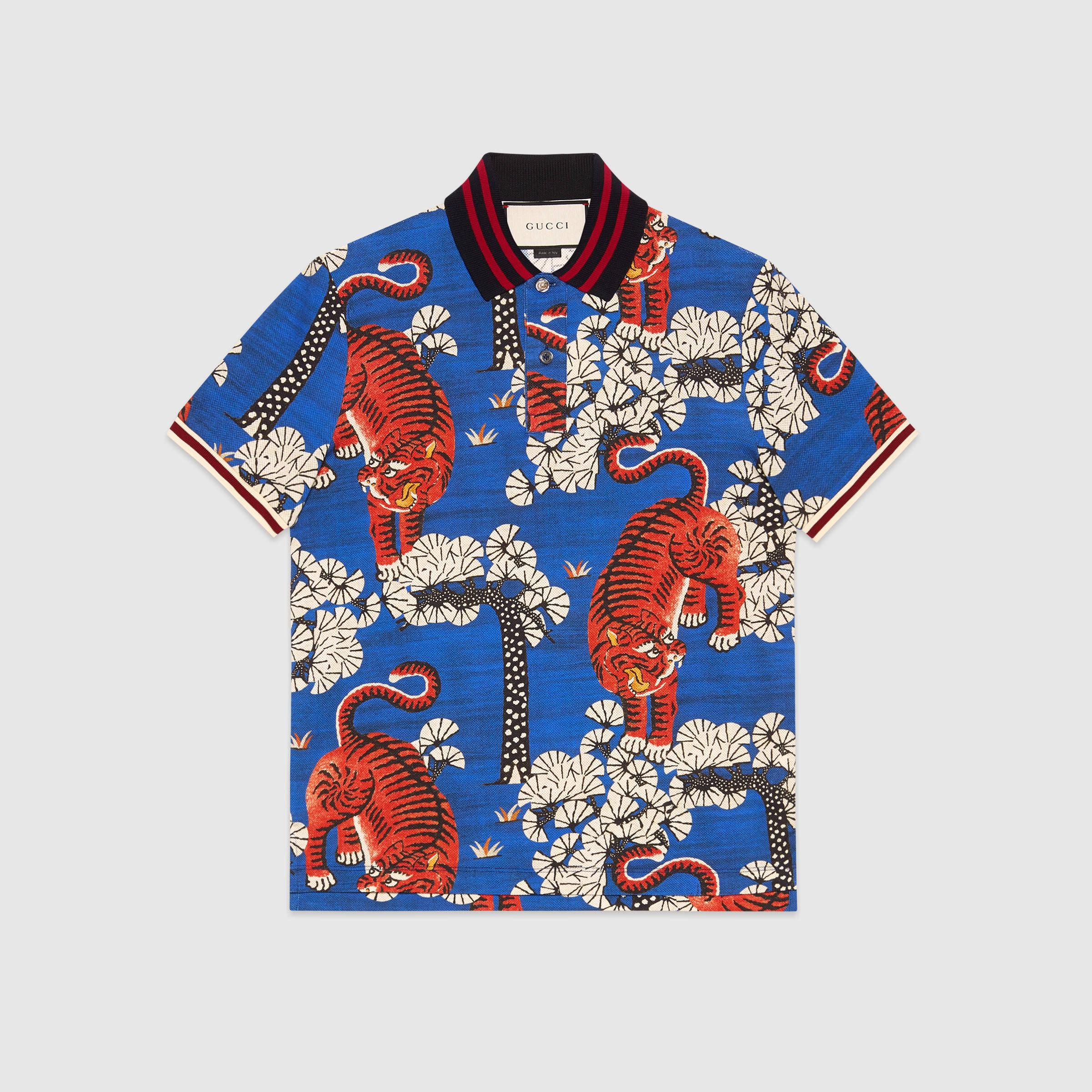 914a87a1bd33fe Gucci Bengal Print Polo in Blue for Men - Lyst