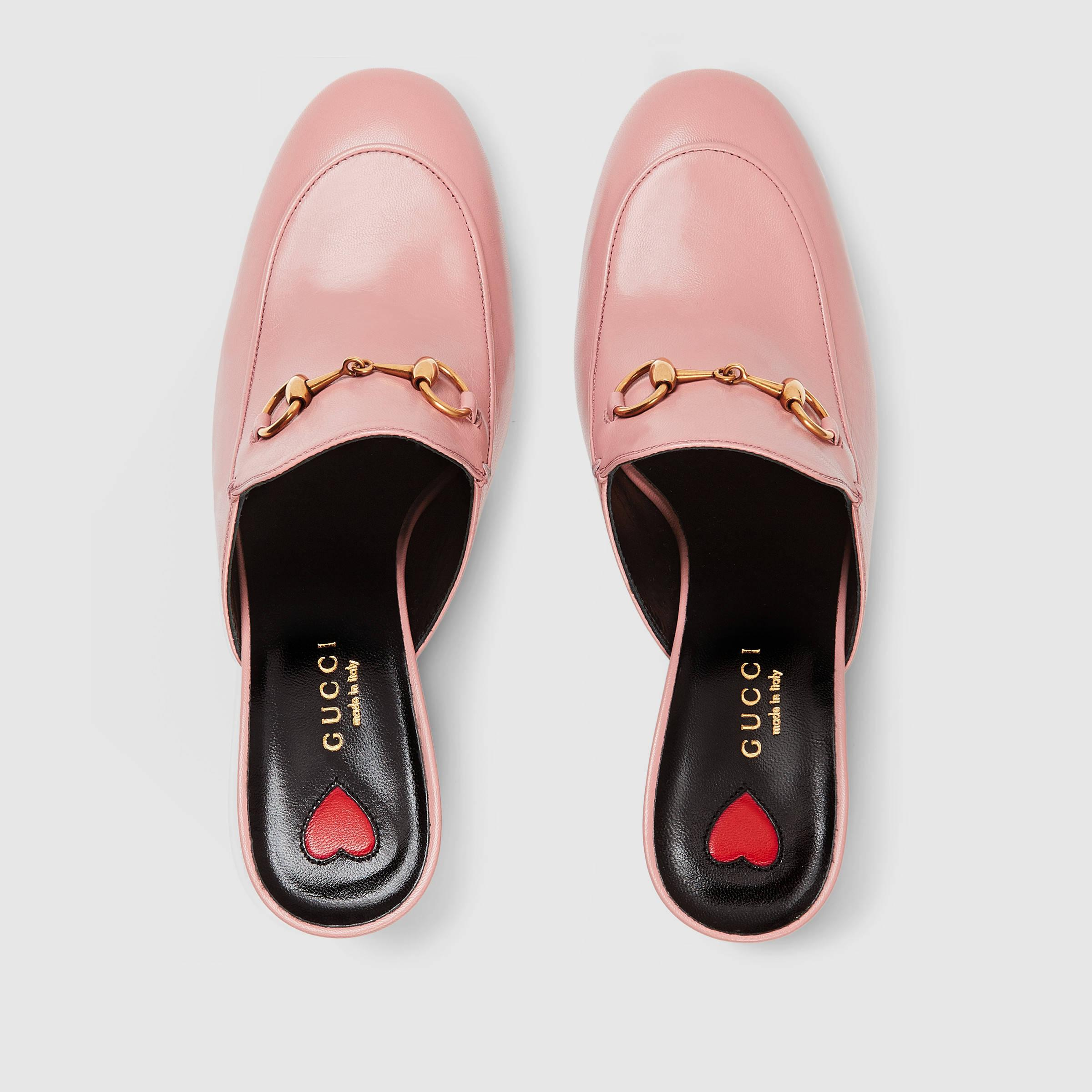 Lyst Gucci Princetown Leather Mules In Pink