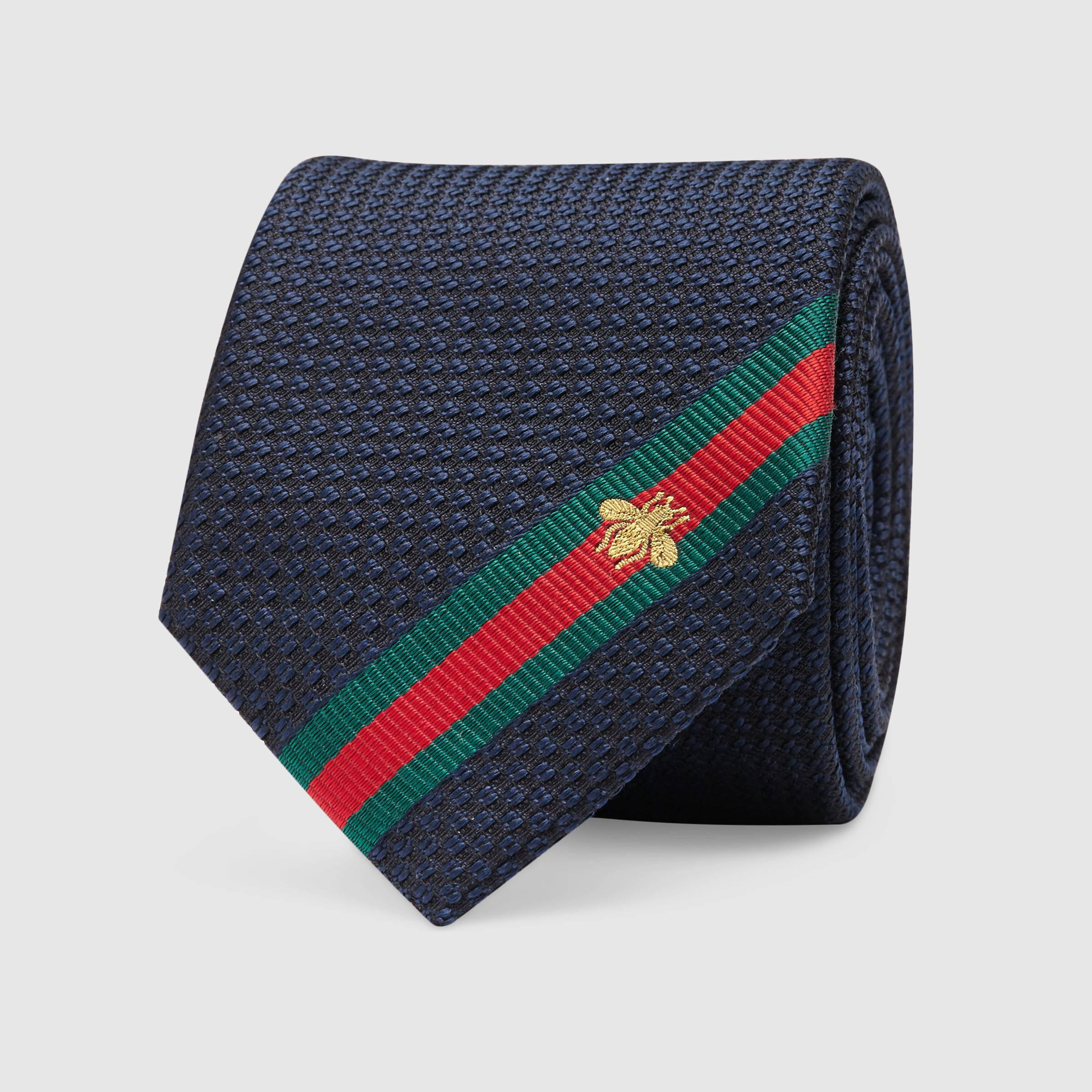 Lyst Gucci Silk Tie With Bee Web In Blue For Men