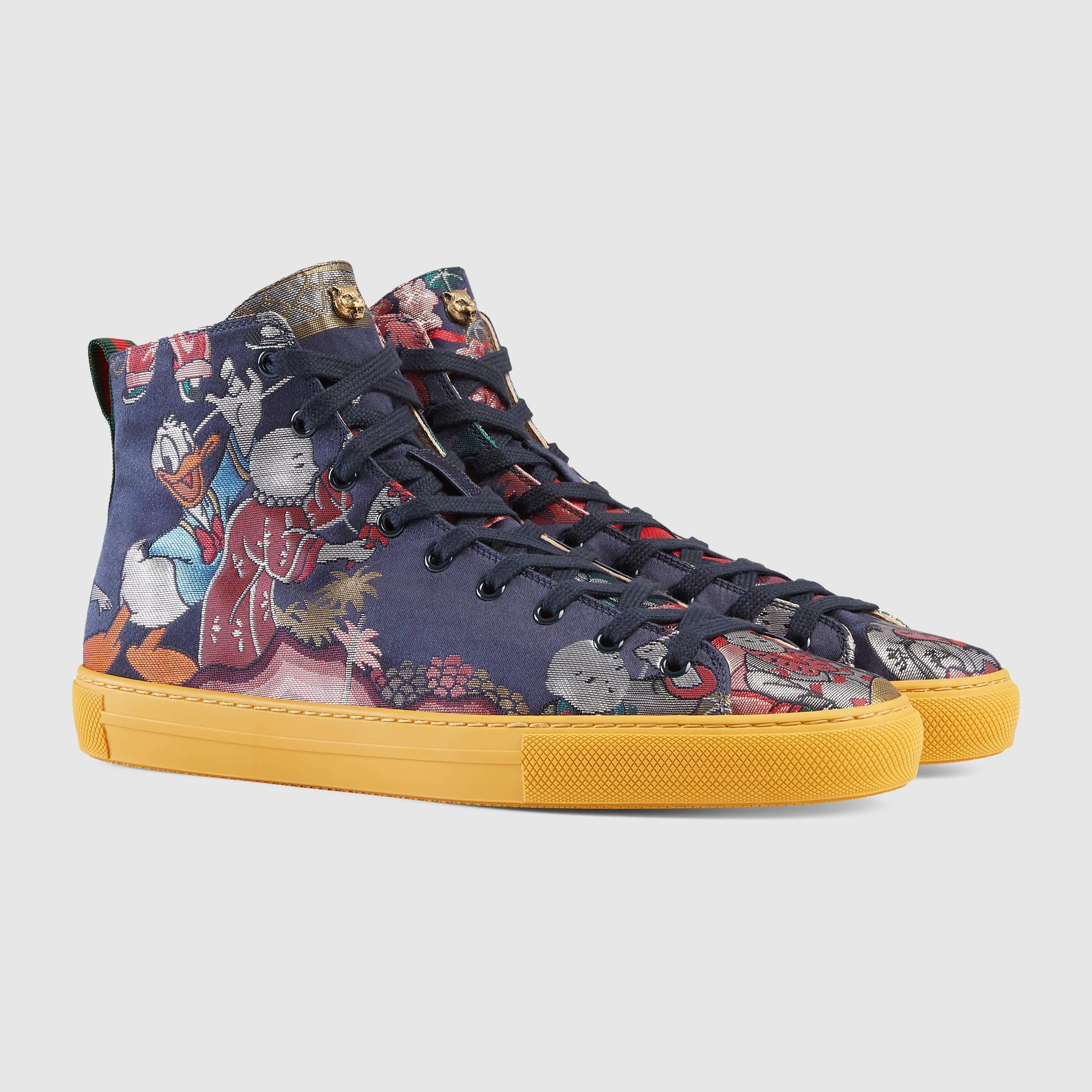 e0a5ebbf4a69 Gucci Donald Duck Jacquard High-top Sneaker in Blue - Lyst