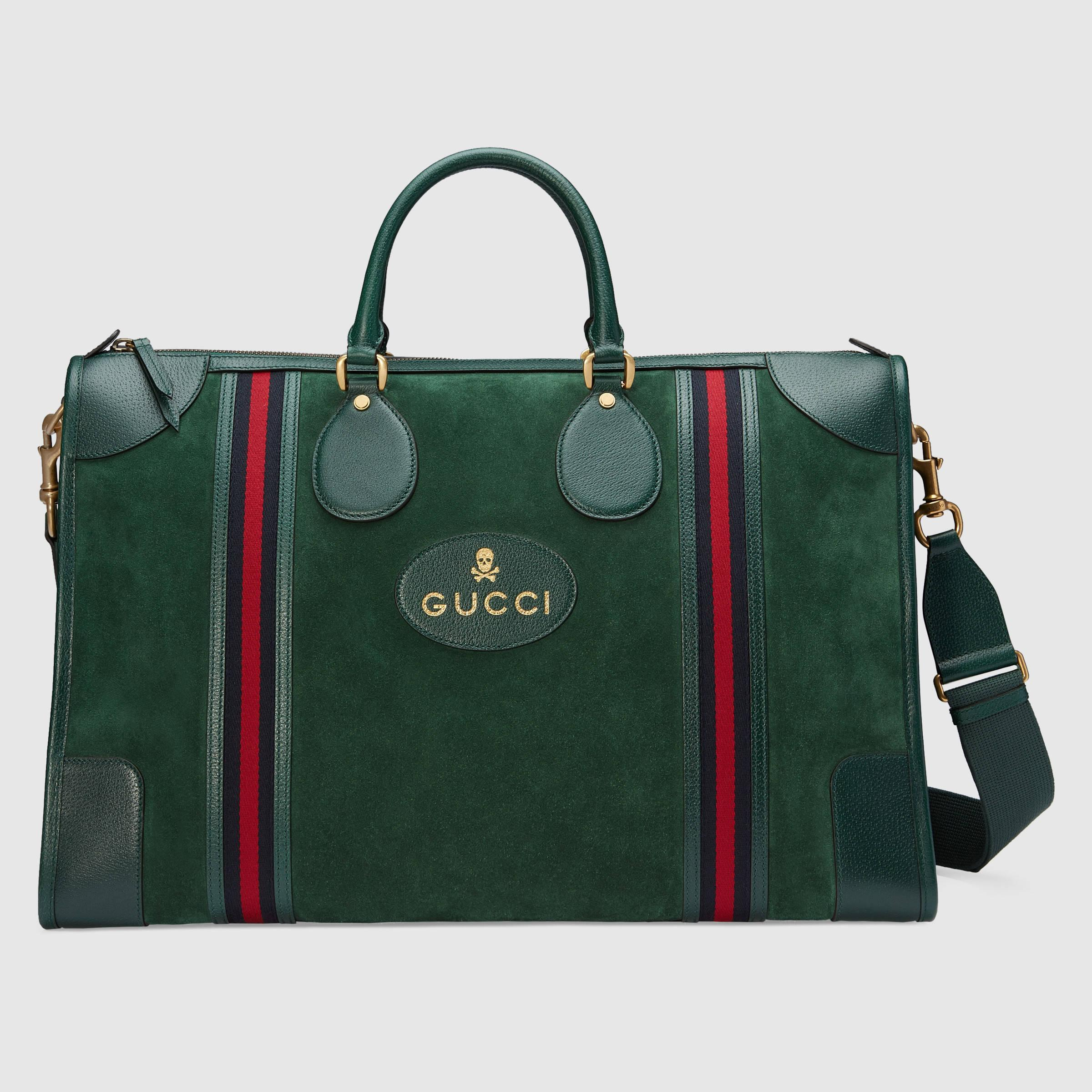 100a8fef8eed Gucci Suede Duffle Bag With Web in Green - Lyst