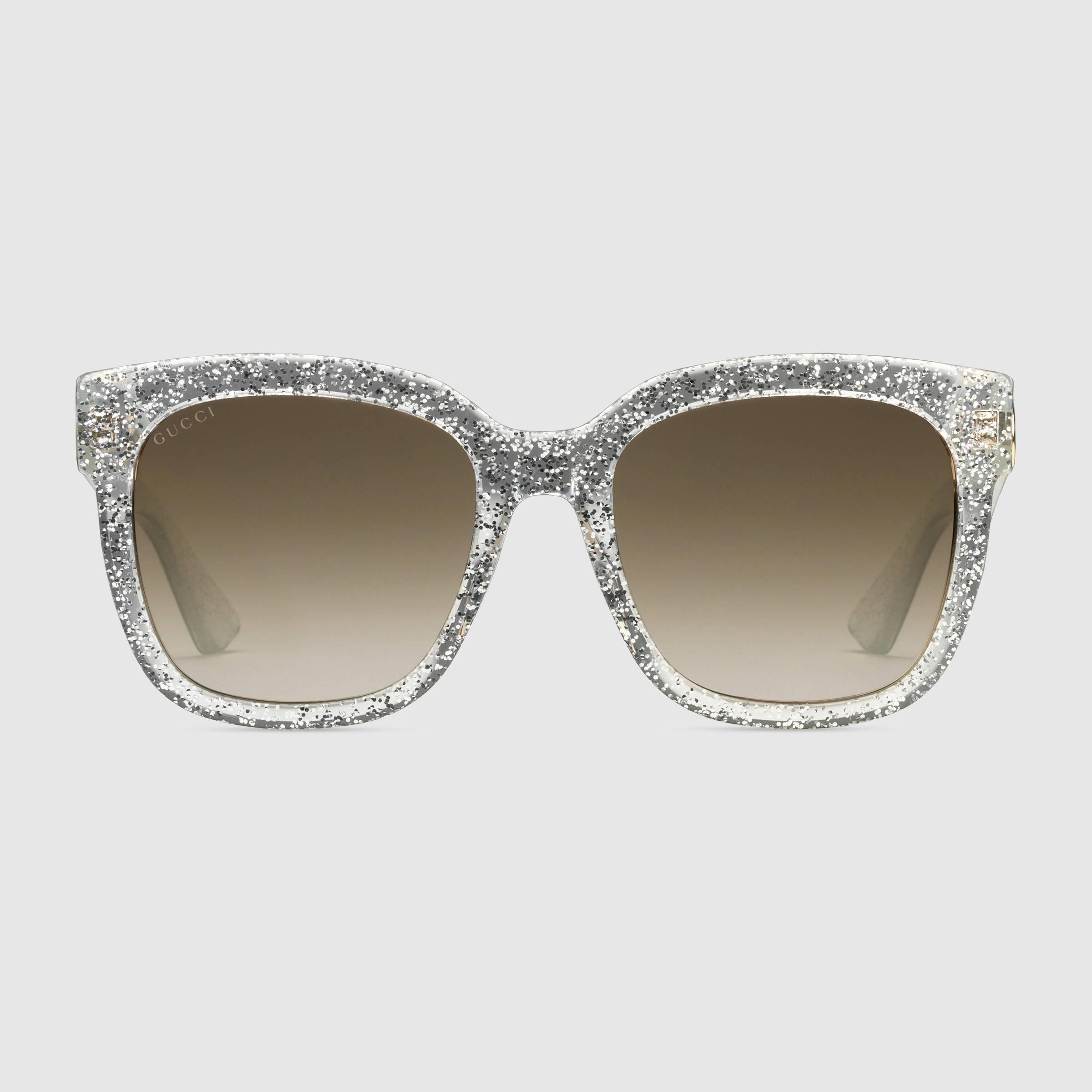 c1e230194b Lyst - Gucci Square-frame Acetate Sunglasses in Metallic