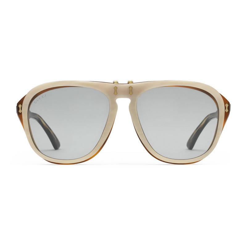Gucci Round-frame Acetate Sunglasses in Gray Lyst