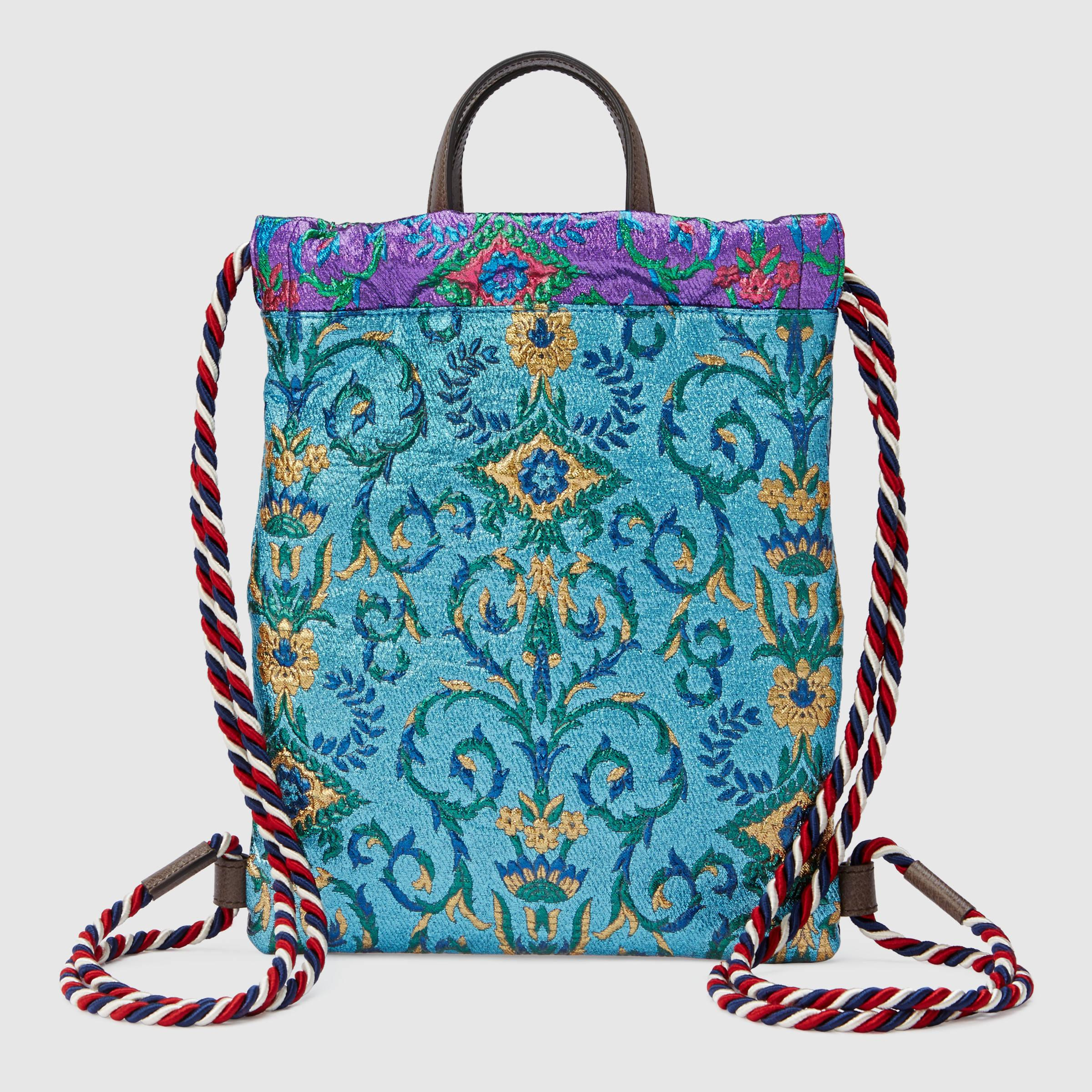 47c27f2889374f Lyst - Gucci Brocade Drawstring Backpack in Blue