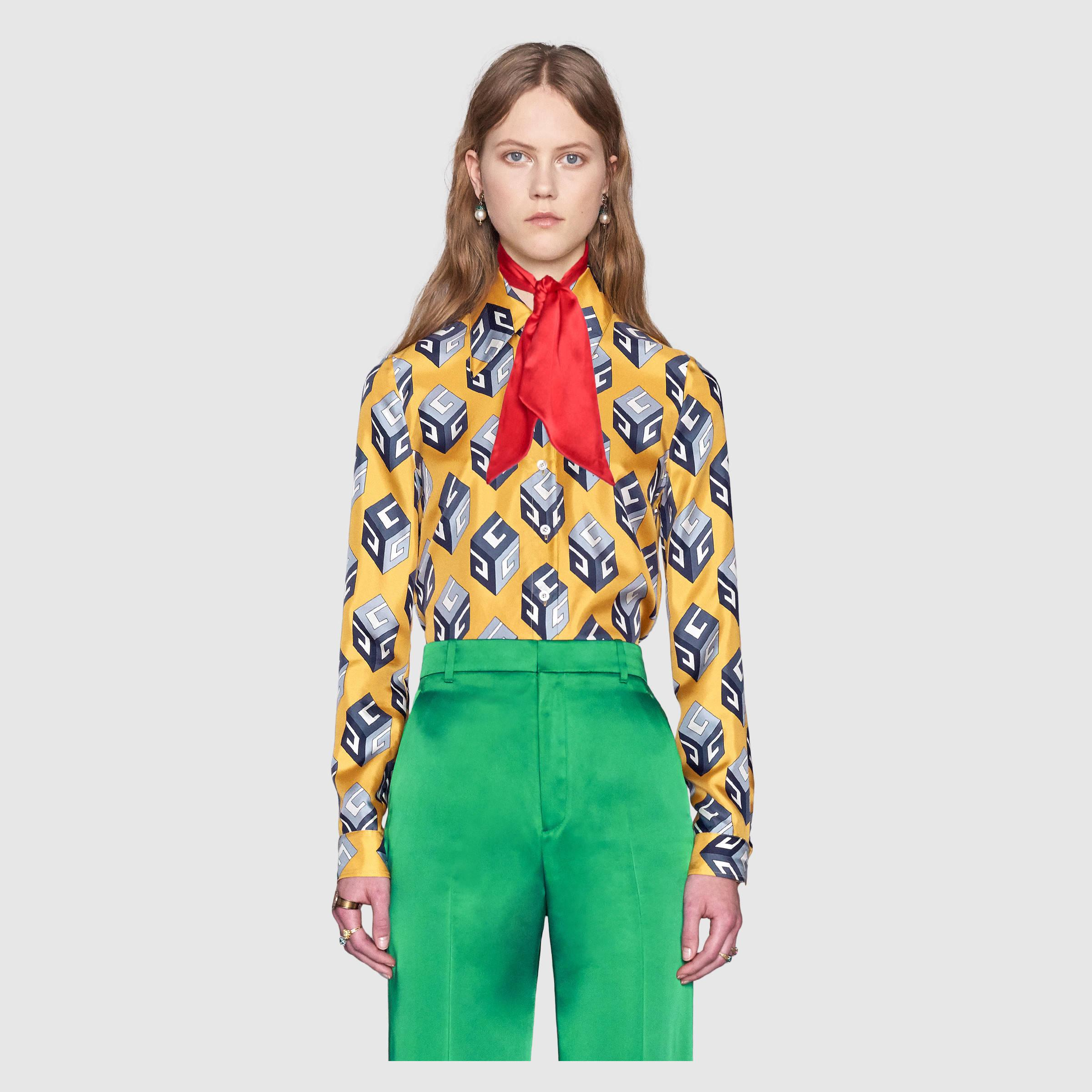 1ea33dc8fcc Lyst - Gucci Gg Wallpaper Print Silk Shirt in Green