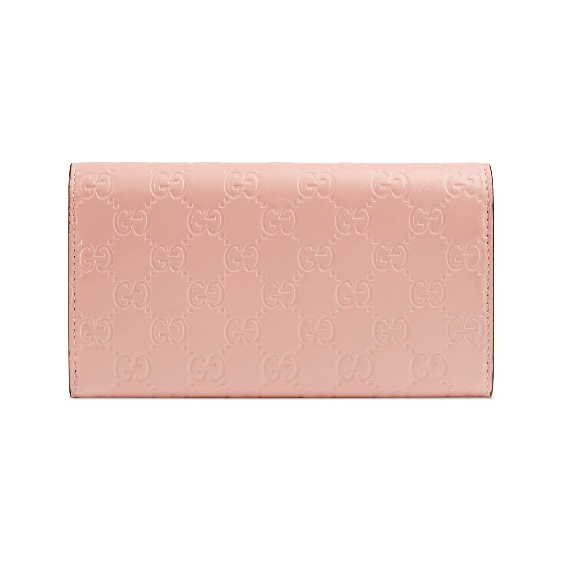 c8574fb7eae1 Gucci - Pink Signature Continental Wallet With Cat - Lyst. View fullscreen