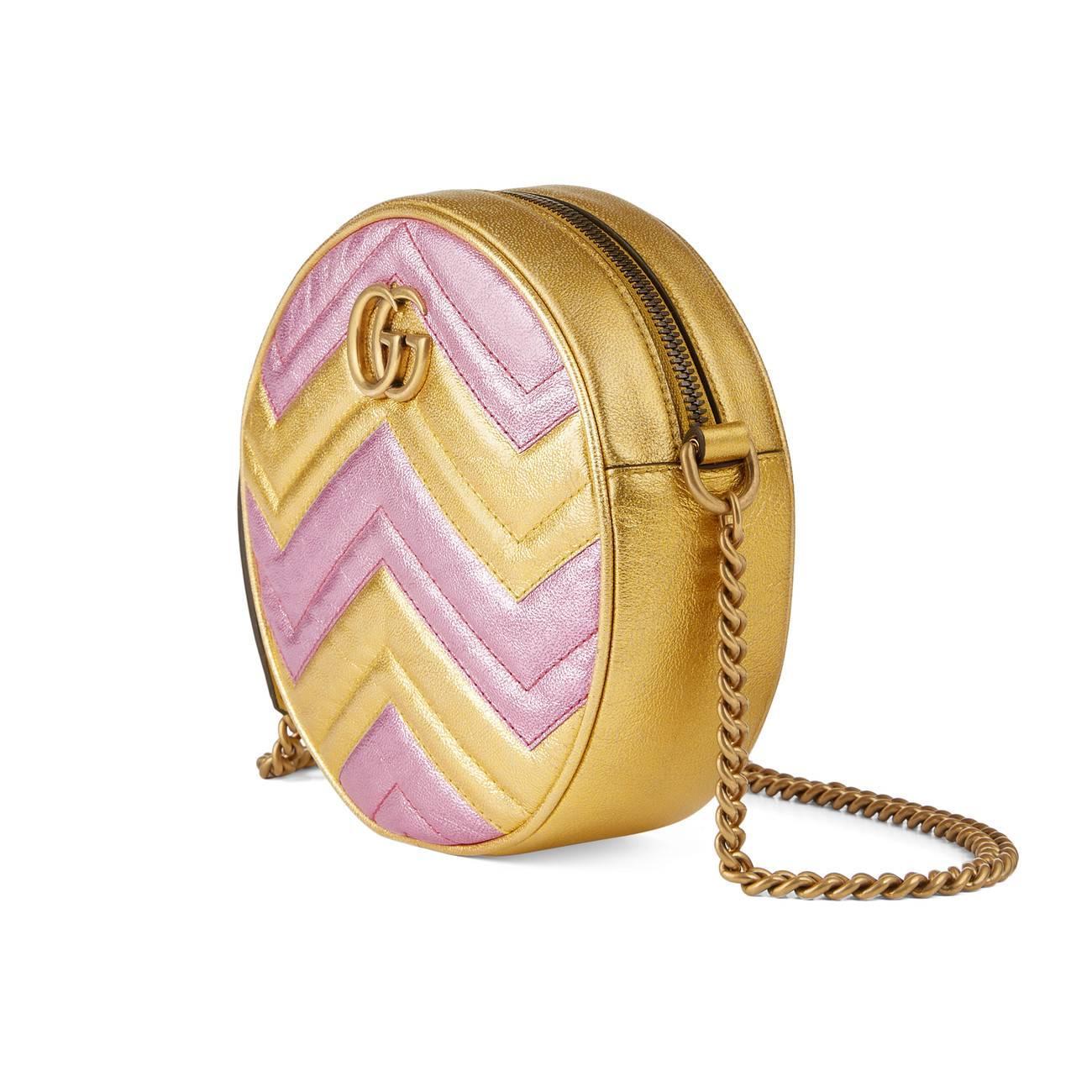 10935e2c7a0 Gucci - Metallic GG Marmont Mini Round Shoulder Bag - Lyst. View fullscreen