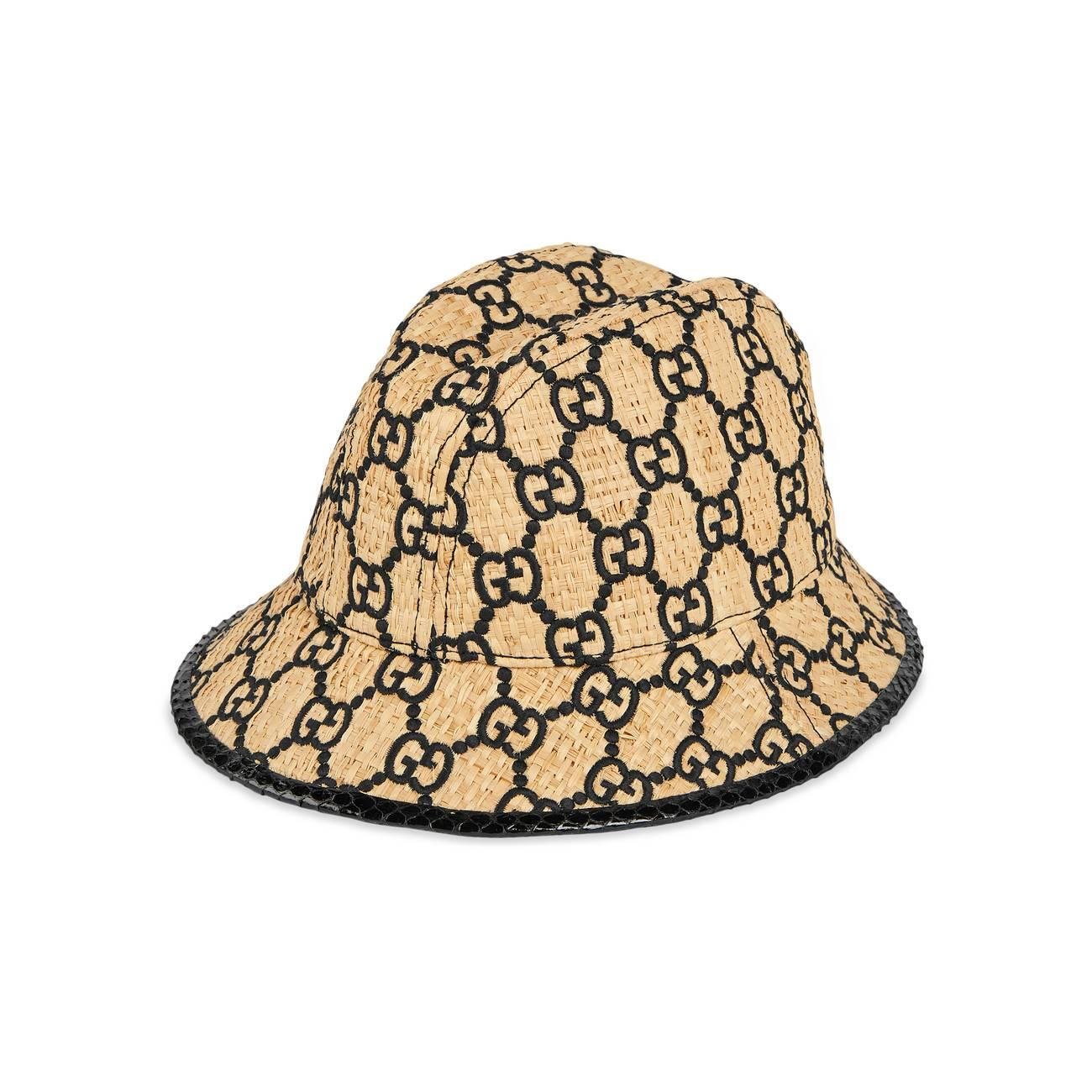 dbdd88a9 Gucci GG Fedora Hat With Snakeskin in Natural - Lyst