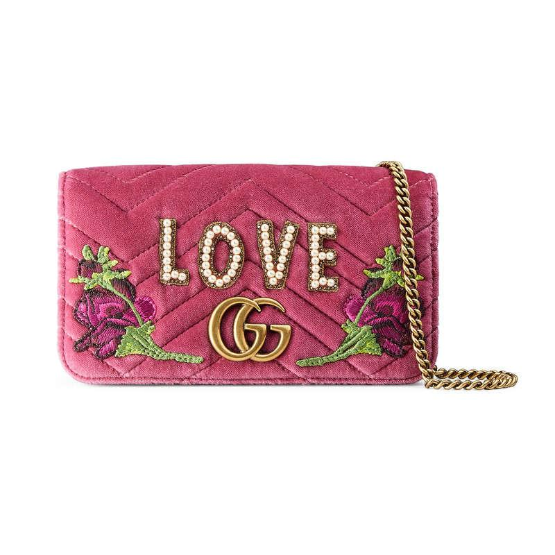 36c22bc0e682 Lyst - Gucci Gg Marmont Embroidered Velvet Mini Bag in Pink