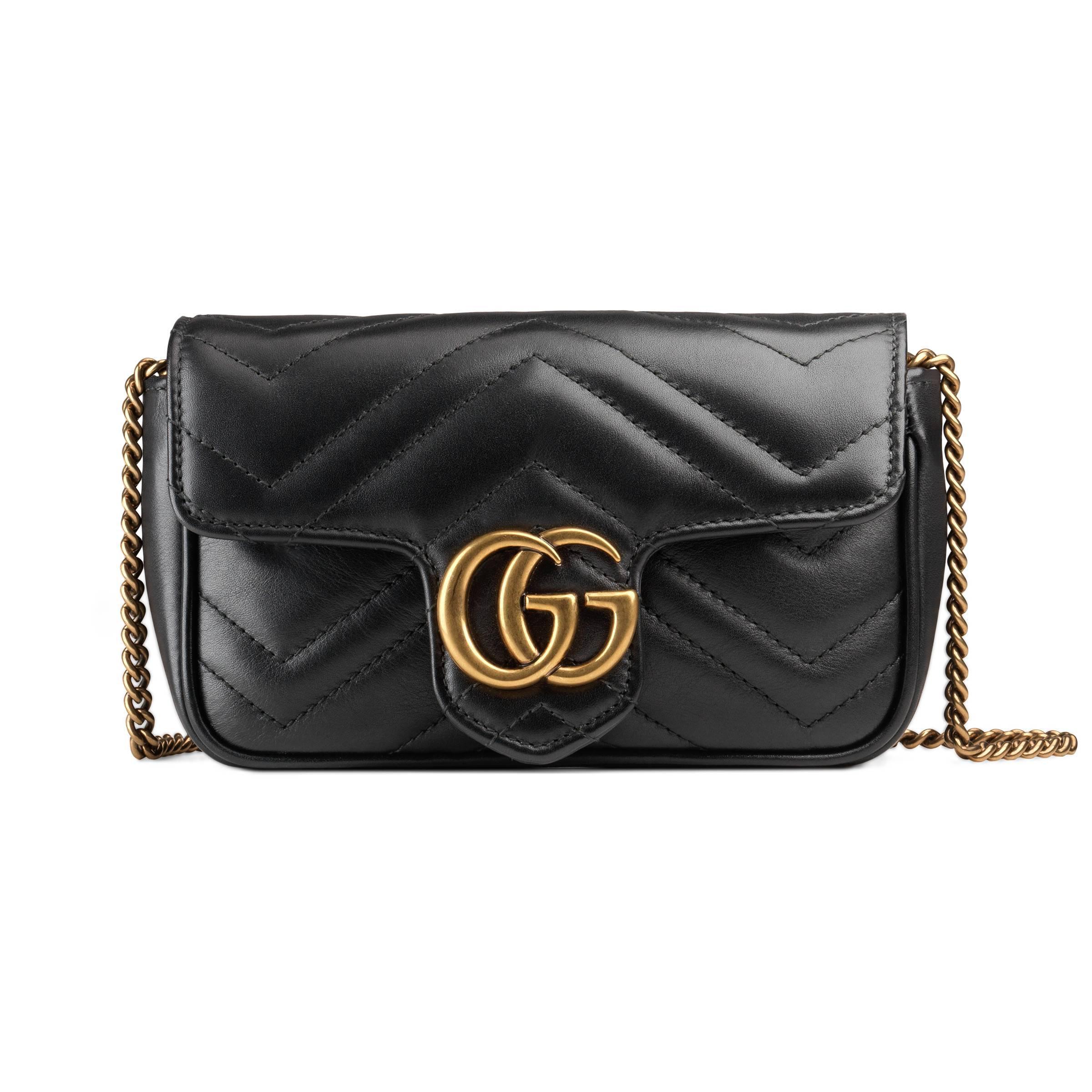 9c018b9e63e8a Gucci - Black GG Marmont Super-Mini-Tasche aus Matelassé-Leder - Lyst.  Vollbild ansehen