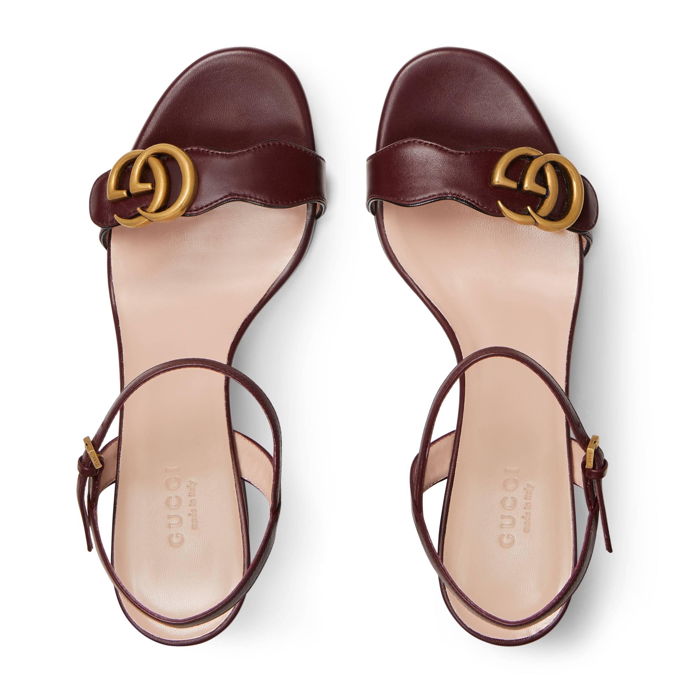 Gucci - Multicolor Sandalia Piel de Tacón Medio con Doble G - Lyst. Ver en  pantalla completa 1c627bc0b7d