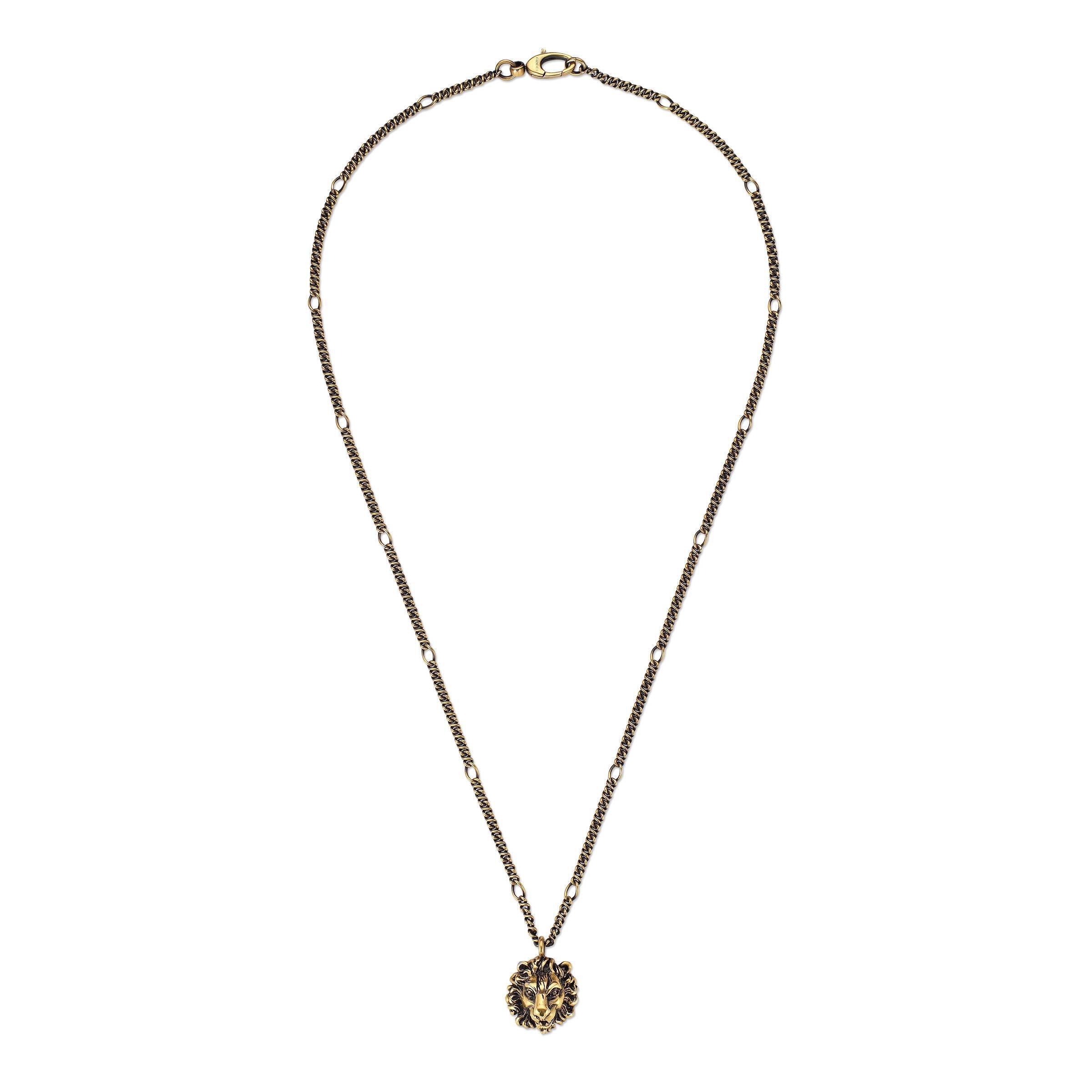 ac650e3fa7a6a3 Gucci - Metallic Necklace With Lion Head Pendant - Lyst. View fullscreen