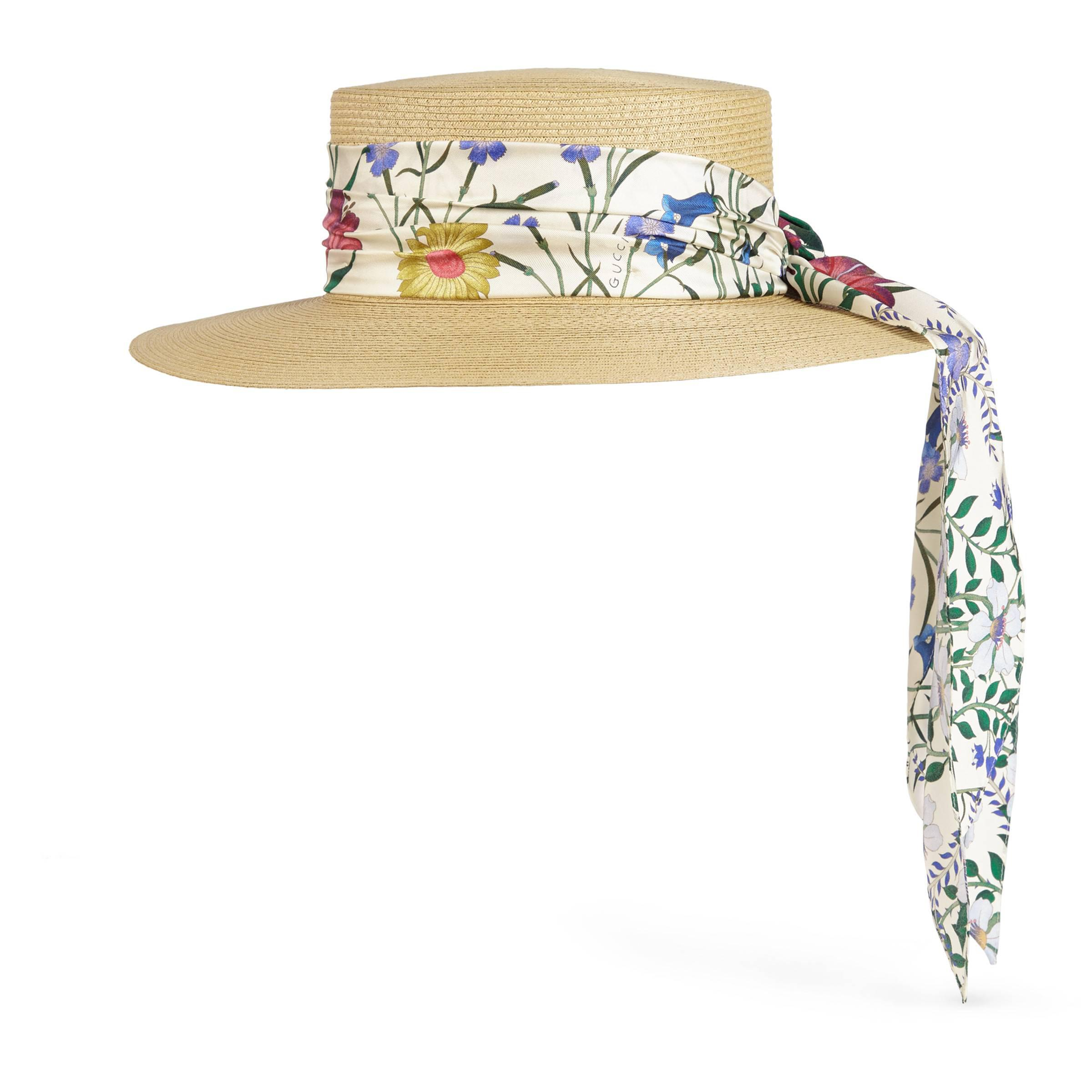 e2619acbac437 Gucci Papier Hat With New Flora Ribbon in Natural - Lyst
