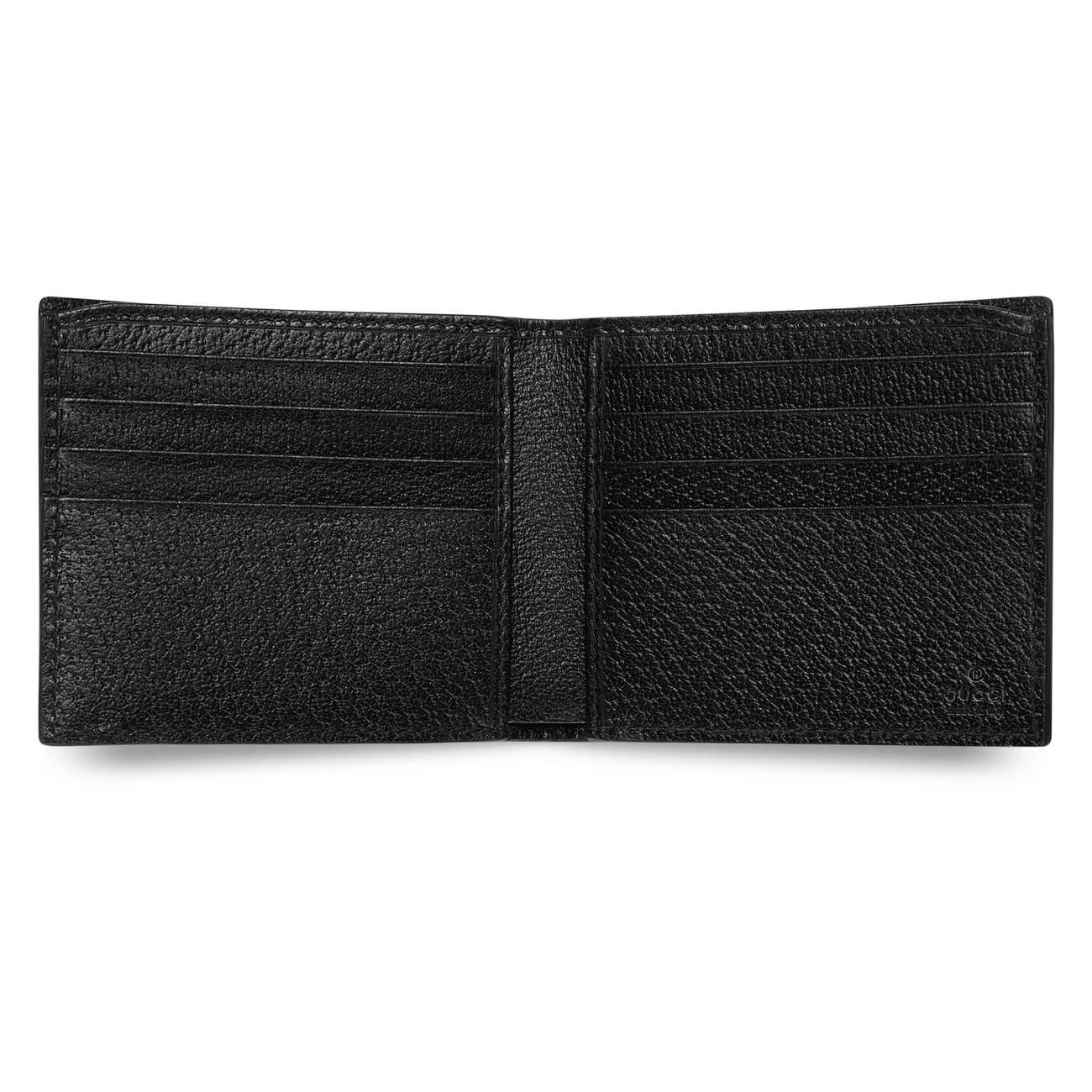 7548e004632124 Gucci Bee Star Leather Bi-fold Wallet in Black for Men - Save 20% - Lyst